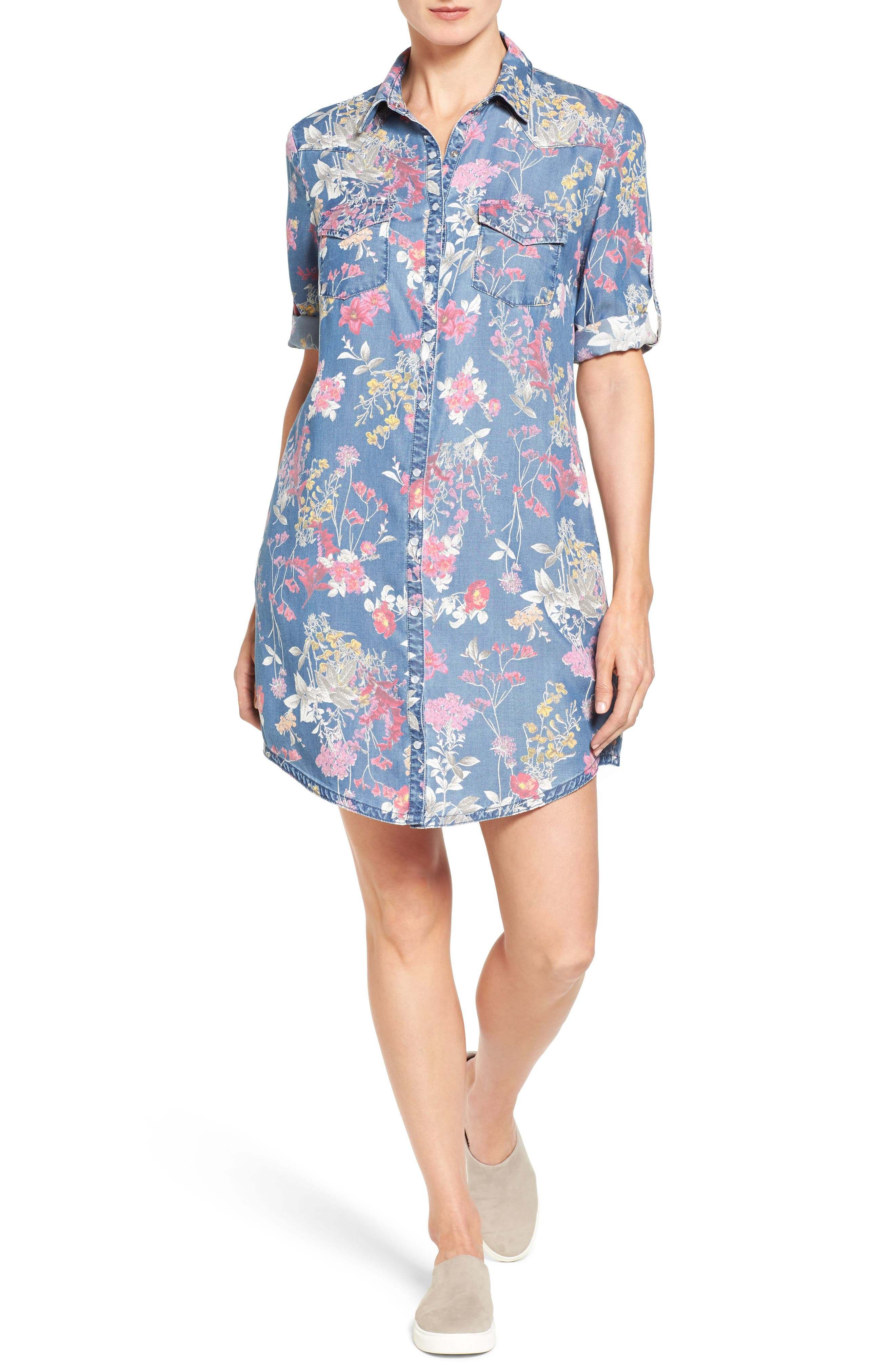 KUT FROM THE KLOTH Ruthy Floral Print Shirtdress