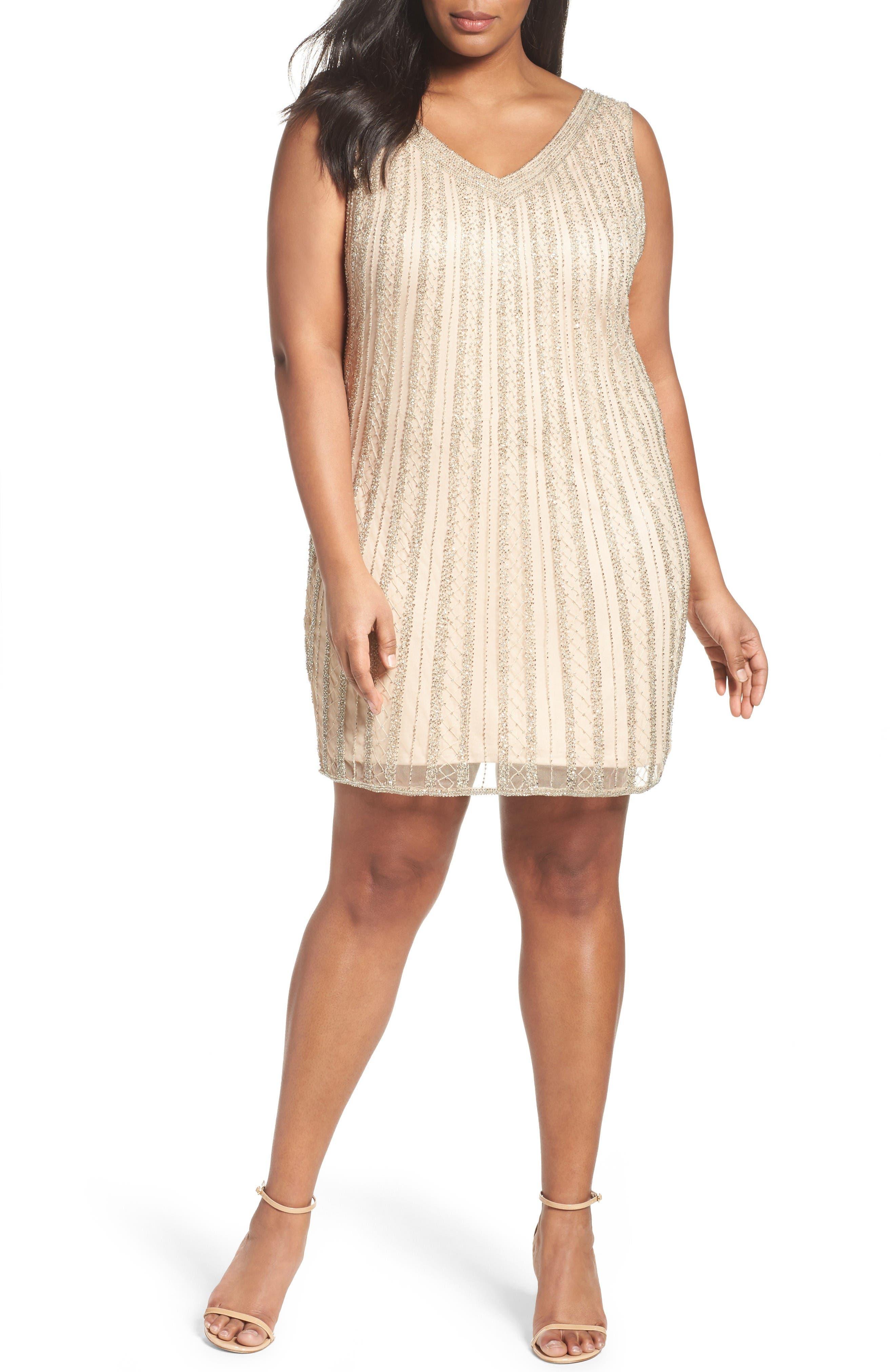 PISARRO NIGHTS Embellised Double V-Neck Sheath Dress