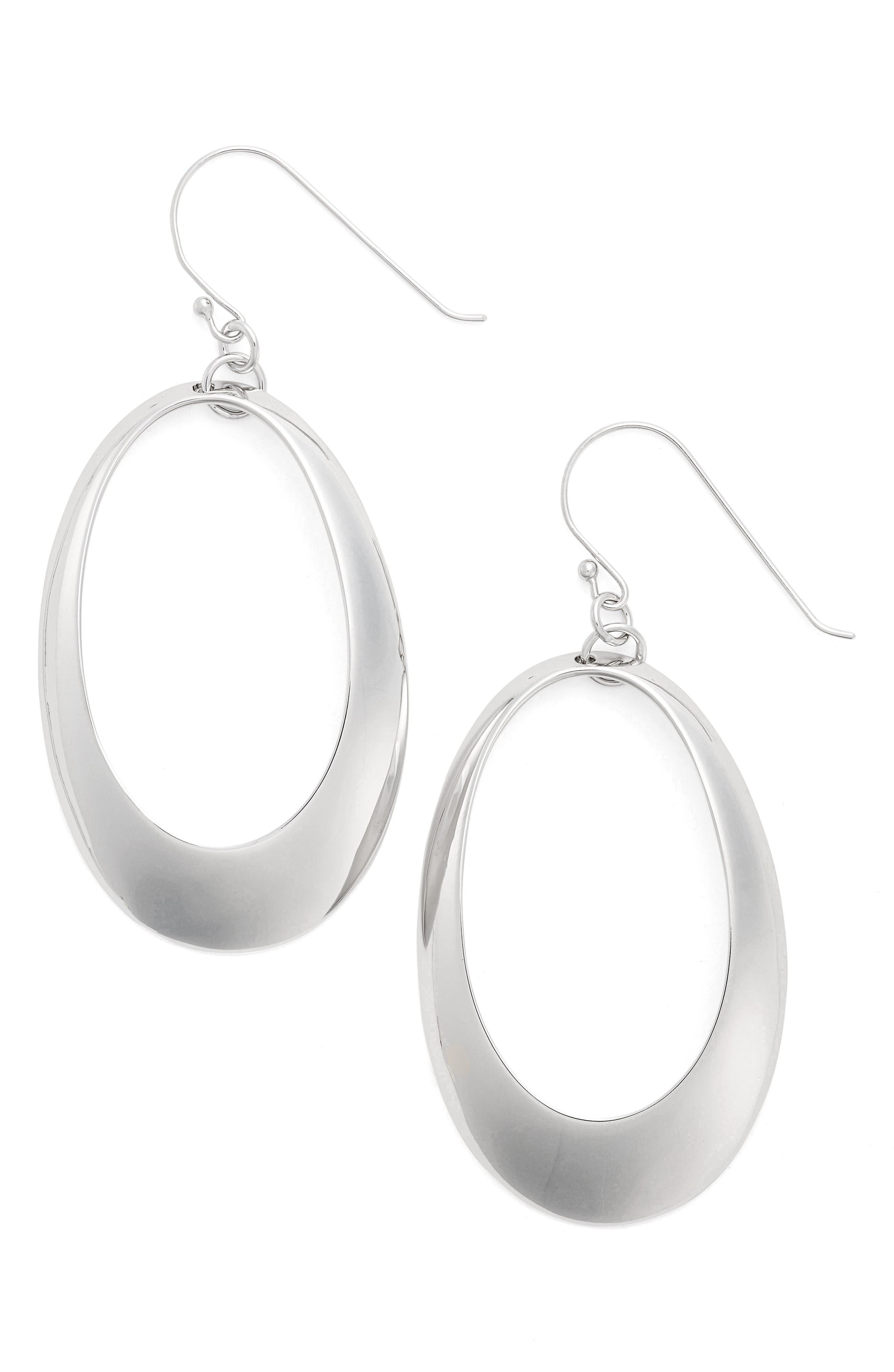 Alternate Image 1 Selected - Argento Vivo Large Oval Drop Earrings