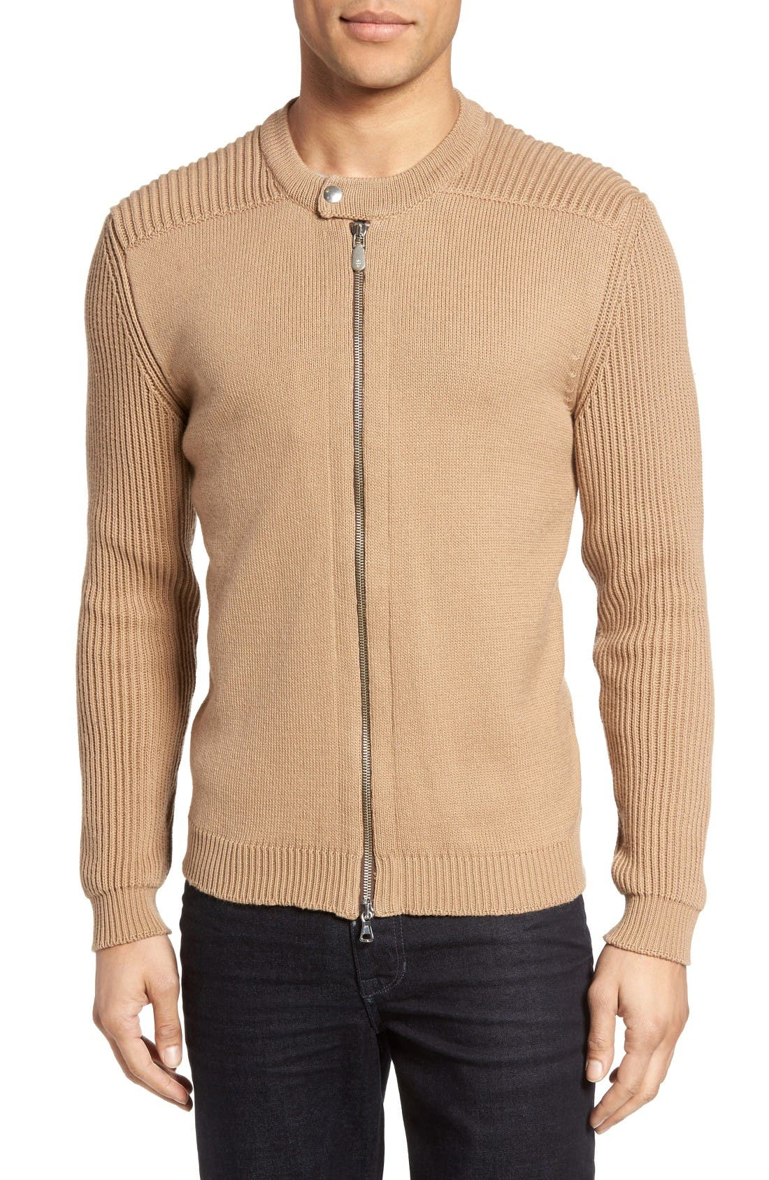ELEVENTY Zip Moto Sweater