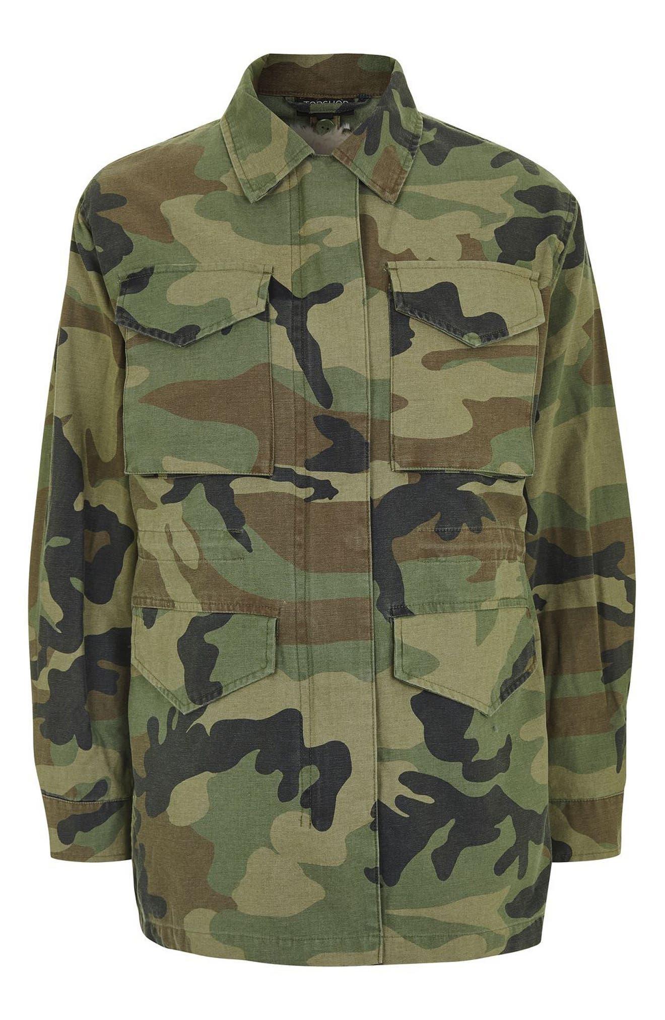 Alternate Image 4  - Topshop Ben Faux Fur Lined Camo Jacket