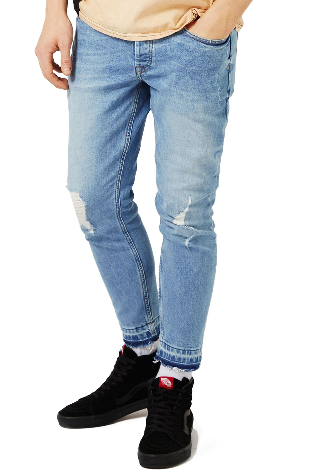 Topman Ripped Cutoff Stretch Skinny Fit Jeans