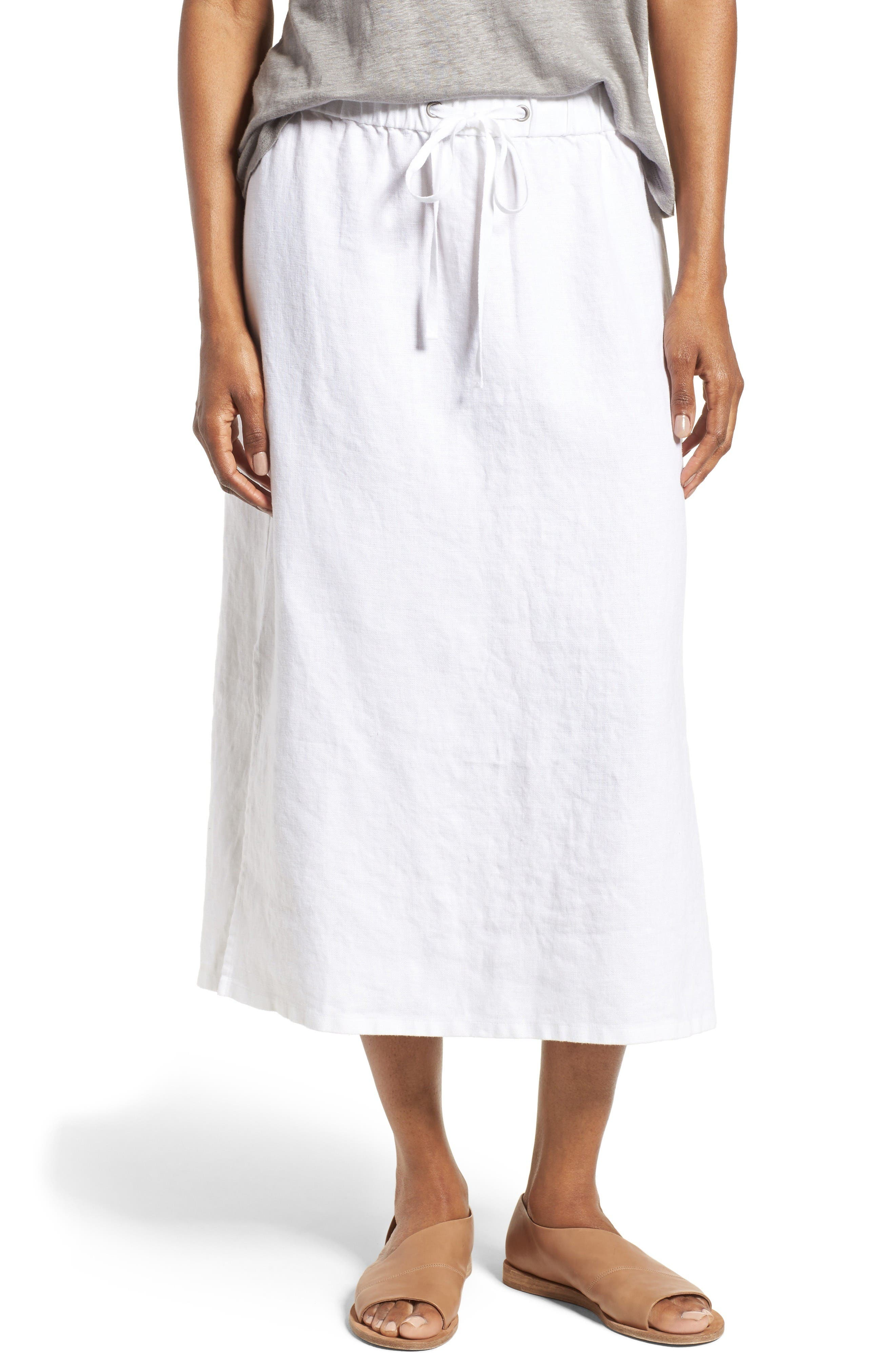 Eileen Fisher Organic Linen Straight Skirt (Regular & Petite)