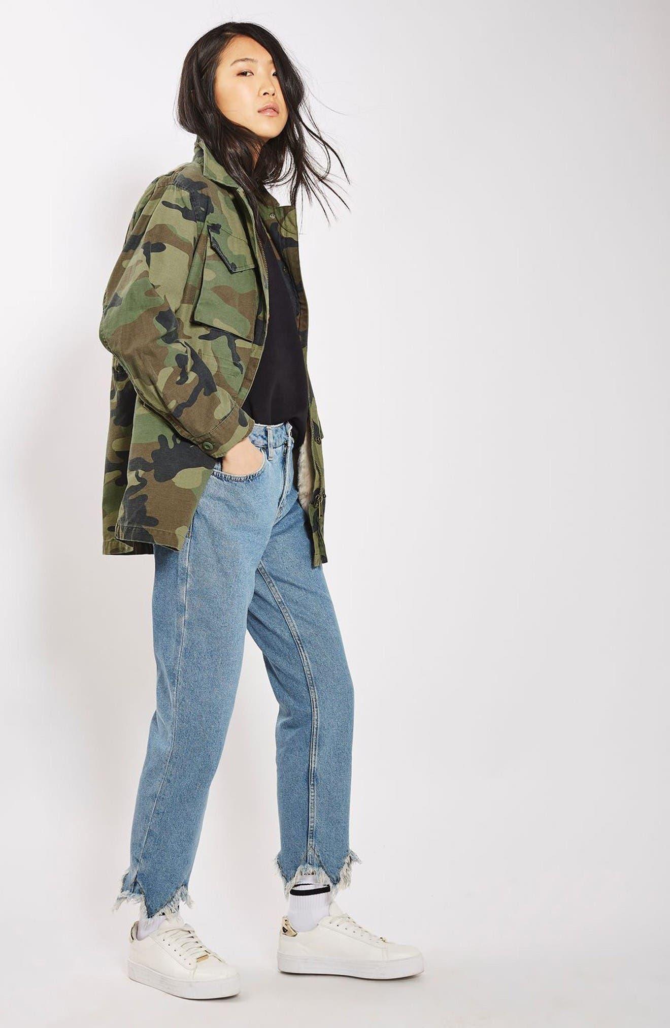 Alternate Image 2  - Topshop Ben Faux Fur Lined Camo Jacket