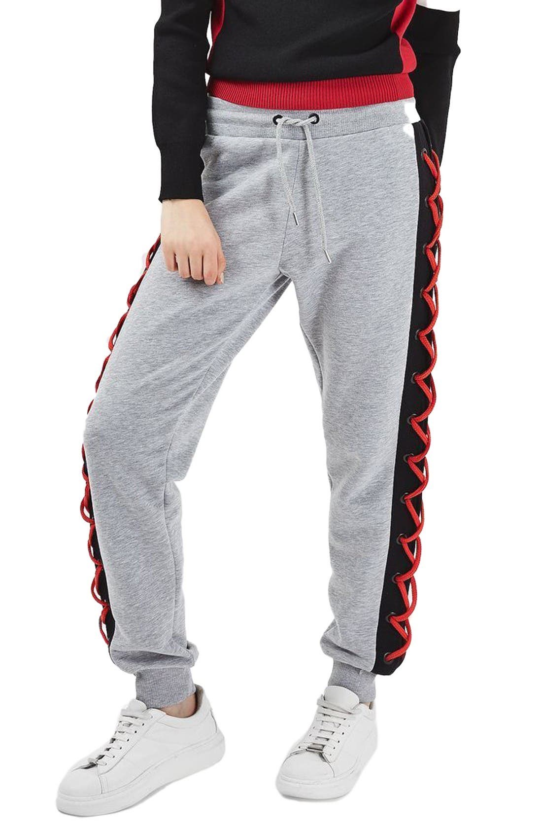 Main Image - Topshop Laced Side Jogger Sweatpants