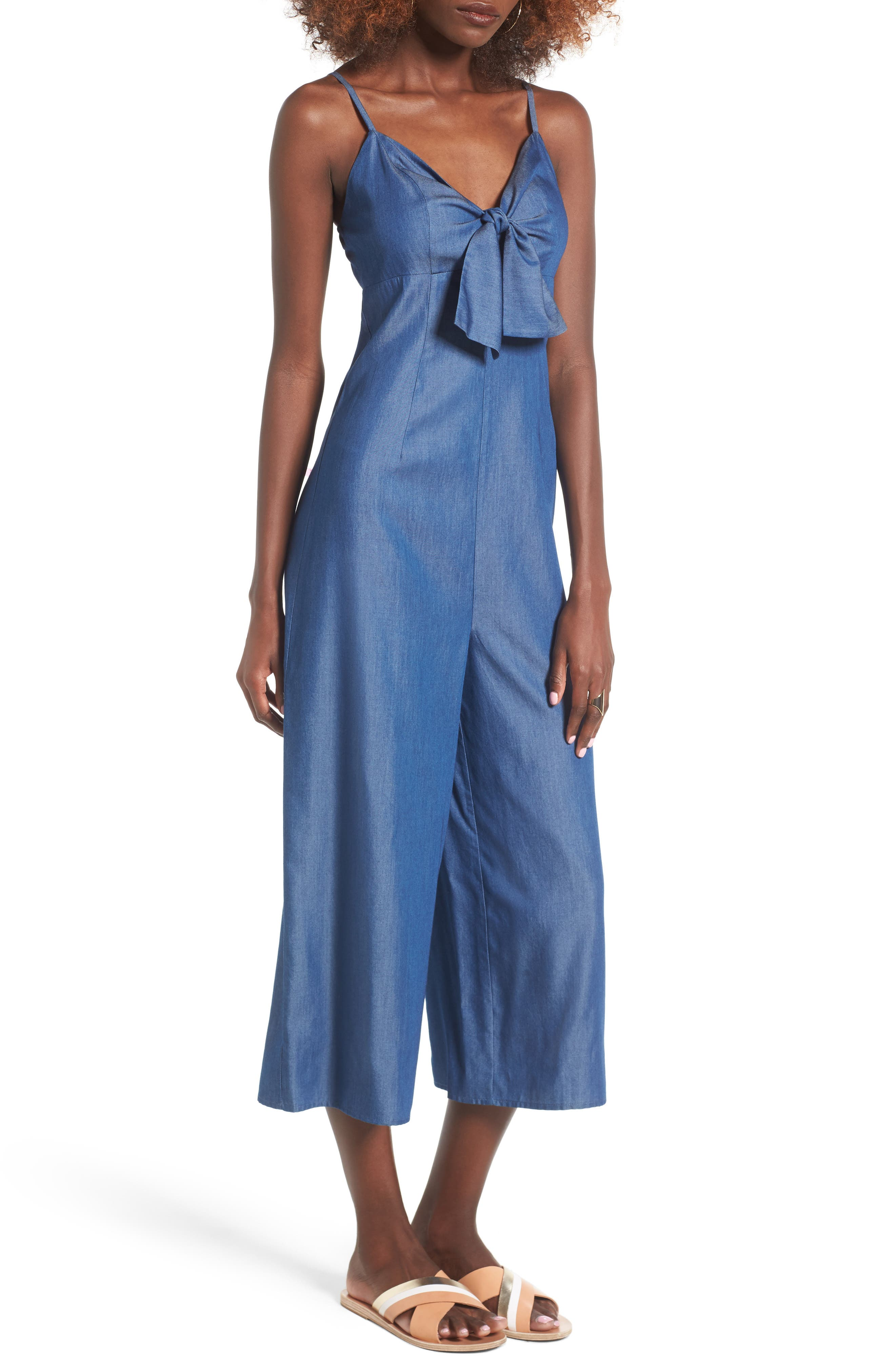 Alternate Image 1 Selected - Soprano Tie Front Chambray Jumpsuit