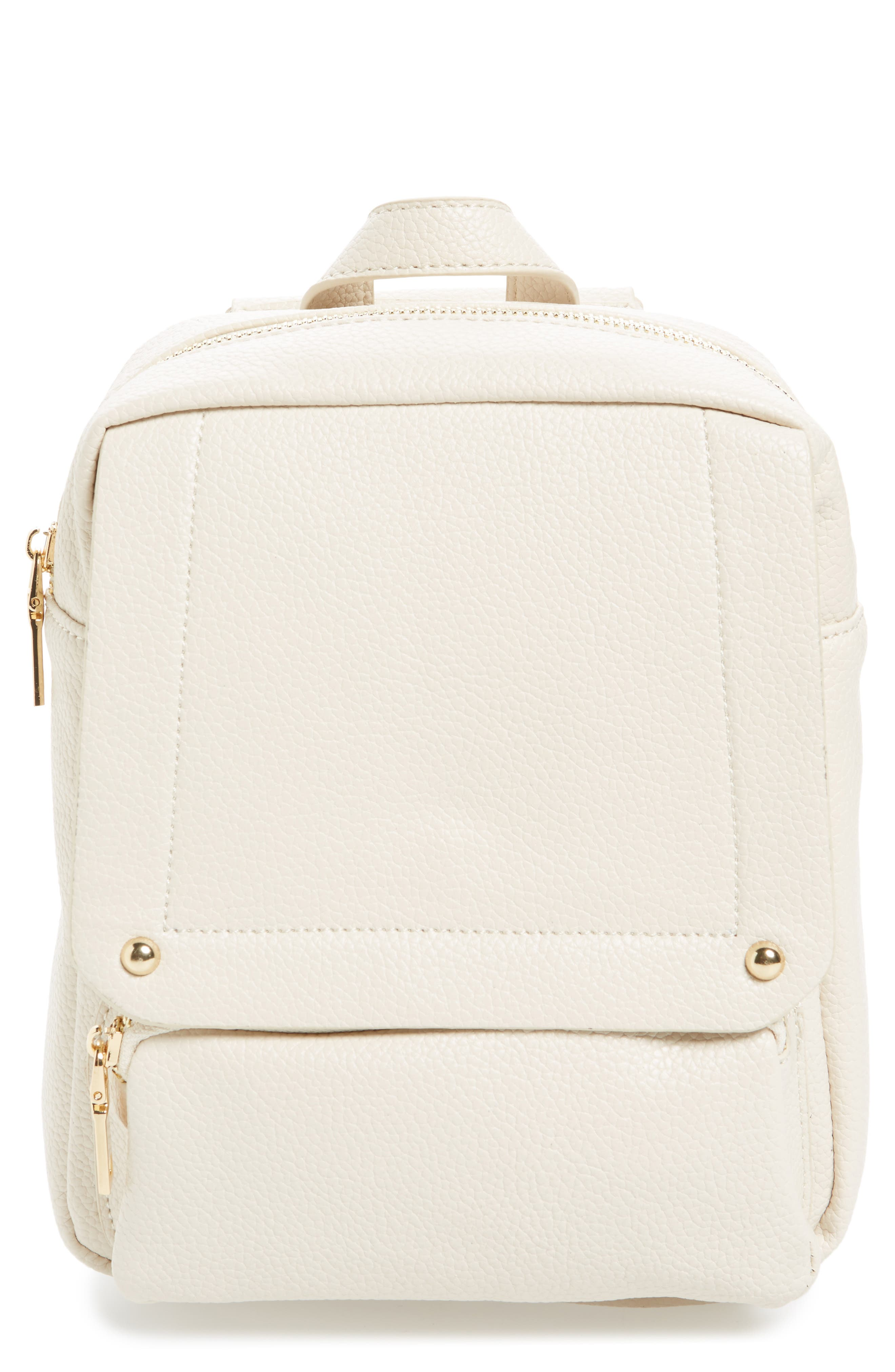 Main Image - Girly Faux Leather Flap Mini Backpack