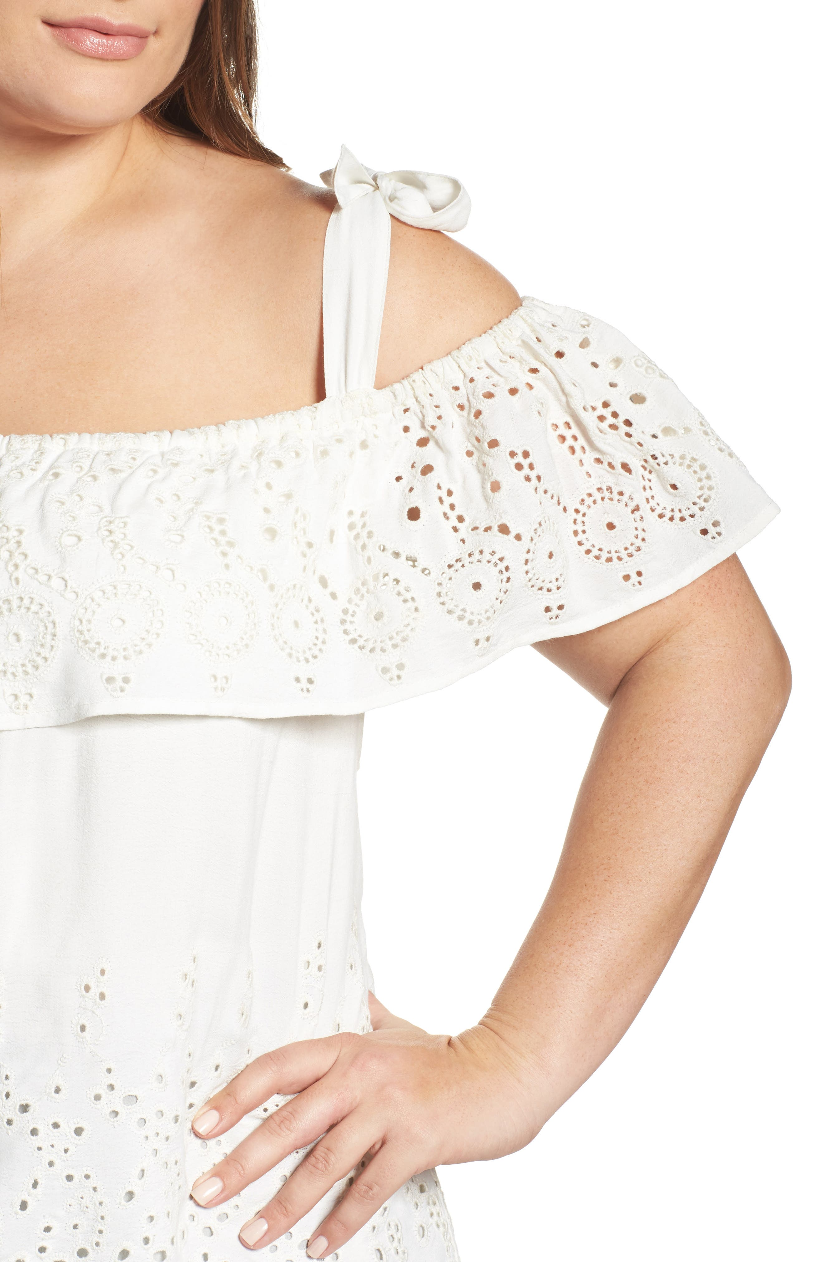Alternate Image 4  - Lucky Brand Eyelet Embroidered Off the Shoulder Top (Plus Size)