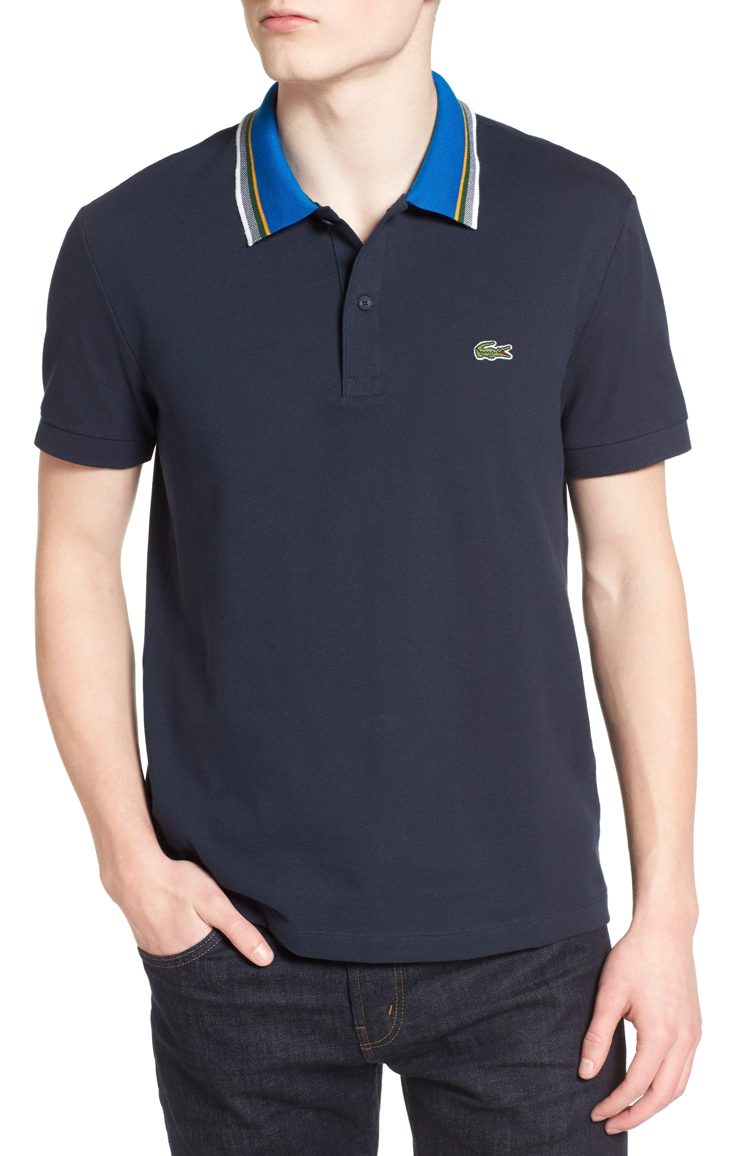 LACOSTE Semi Fancy Stripe Collar Piqué Polo