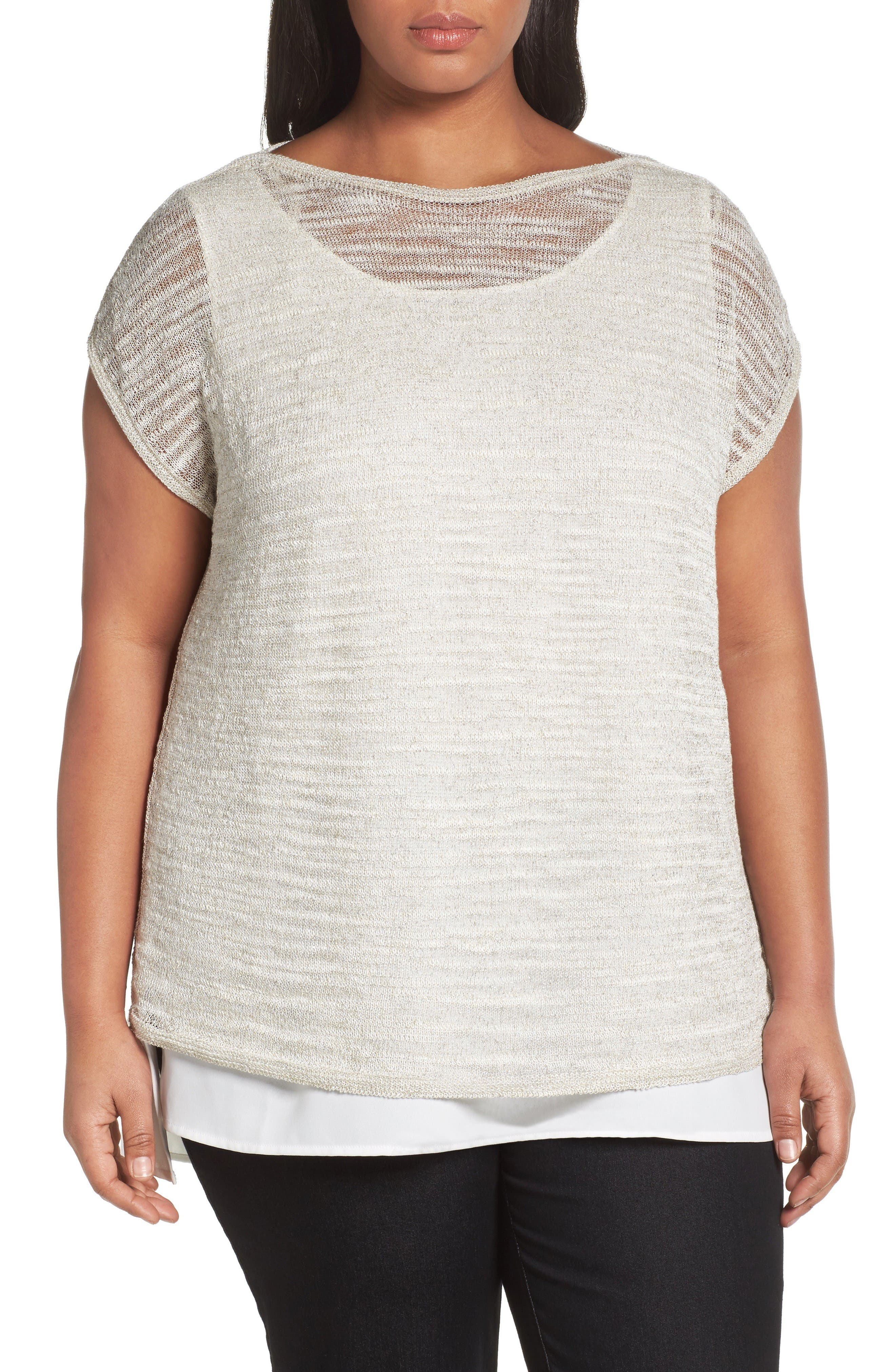 Lafayette 148 New York Bateau Neck Sweater with Tank (Plus Size)
