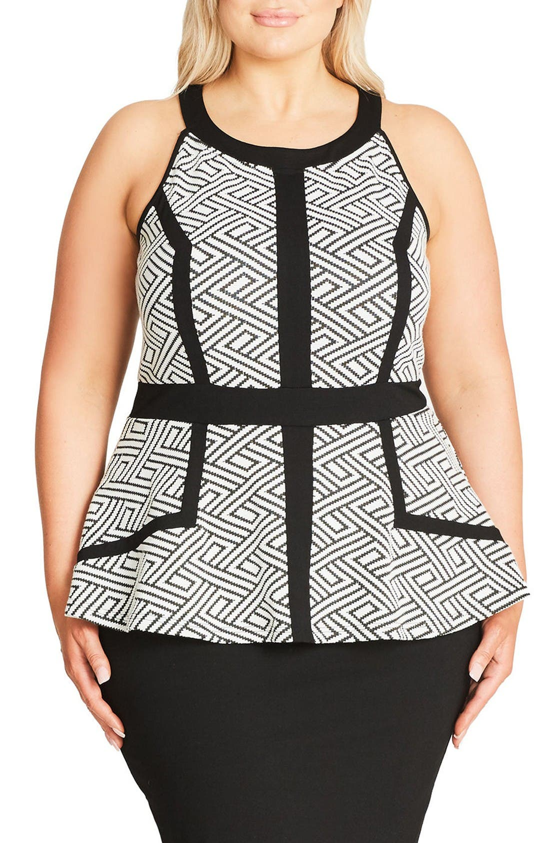 CITY CHIC Geo Peplum Dress