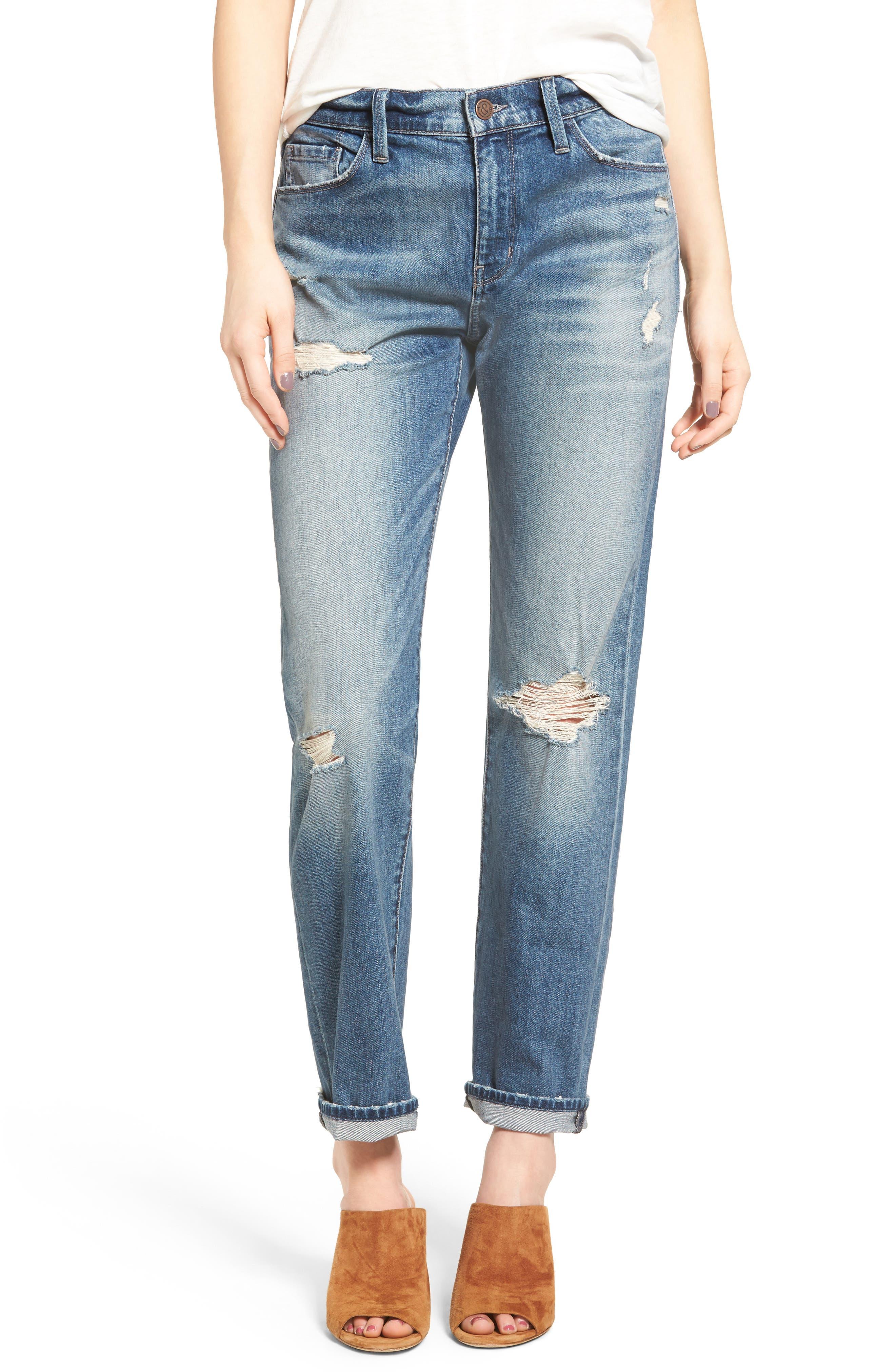 Alternate Image 1 Selected - Treasure & Bond Relaxed Jeans (Gravel Dusk Destroyed)