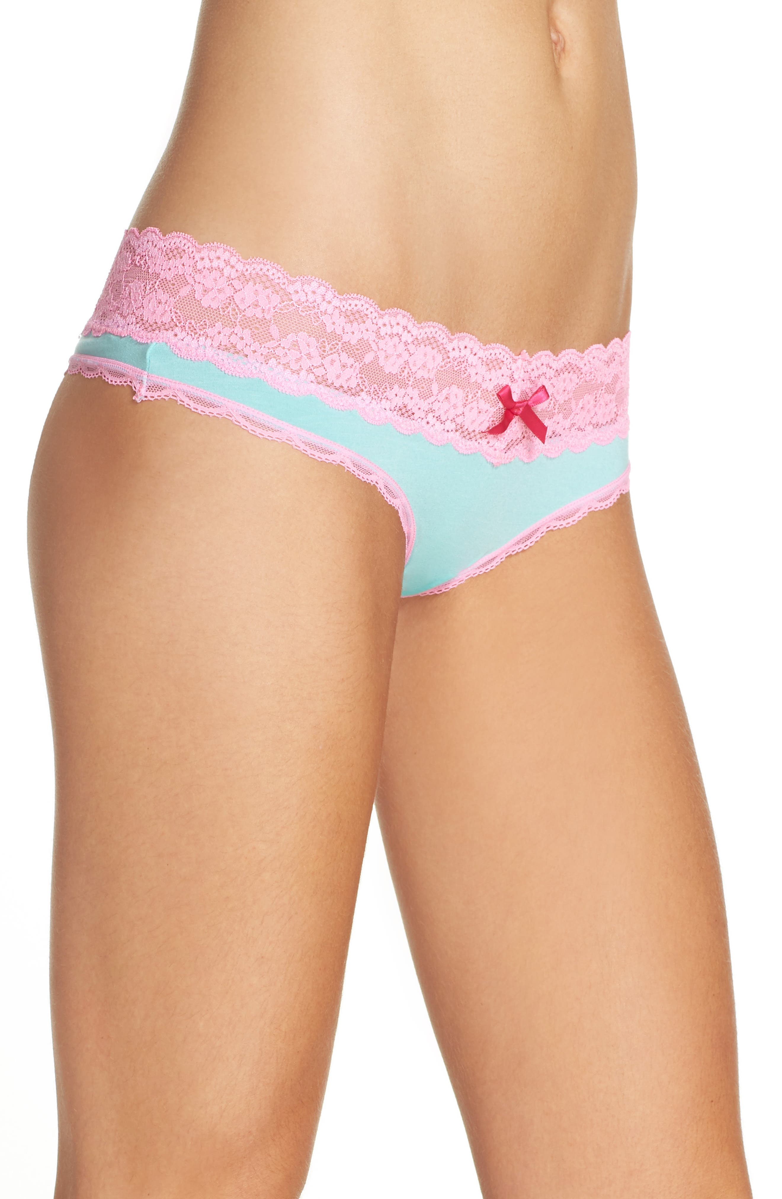 Alternate Image 3  - Honeydew Intimates Lace Trim Low Rise Thong (3 for $33)