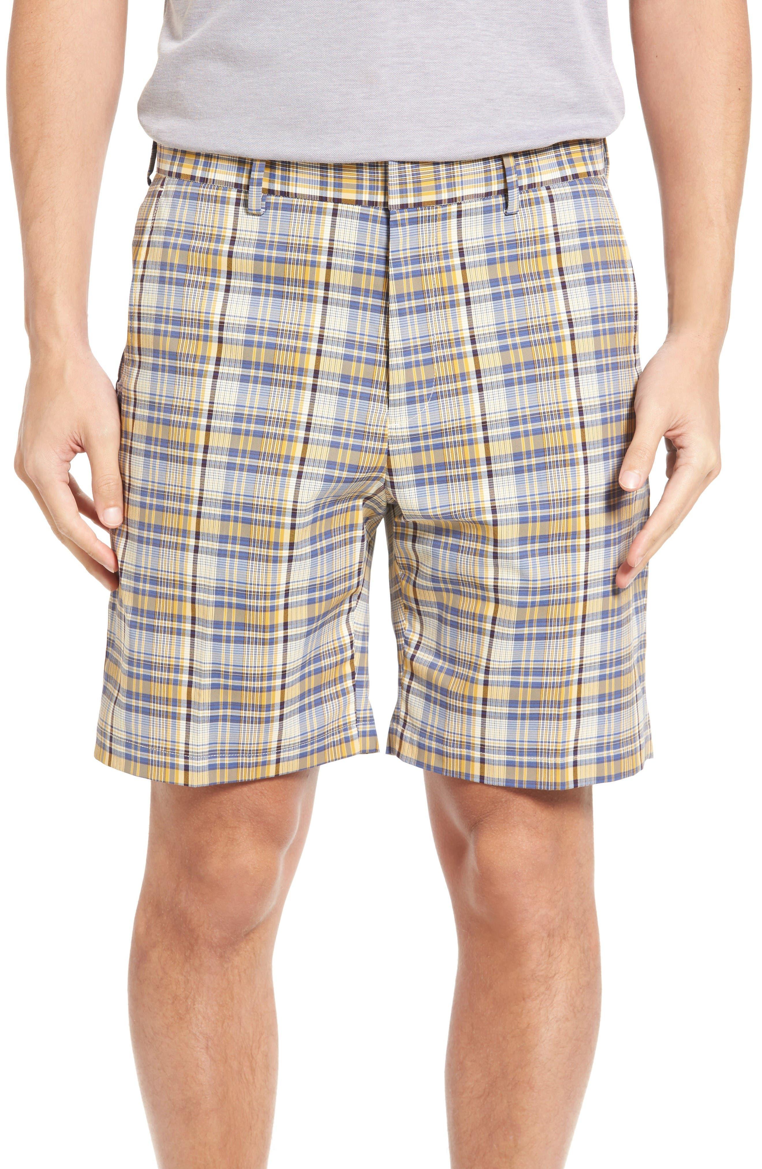 BOBBY JONES Plaid Tech Chino Shorts