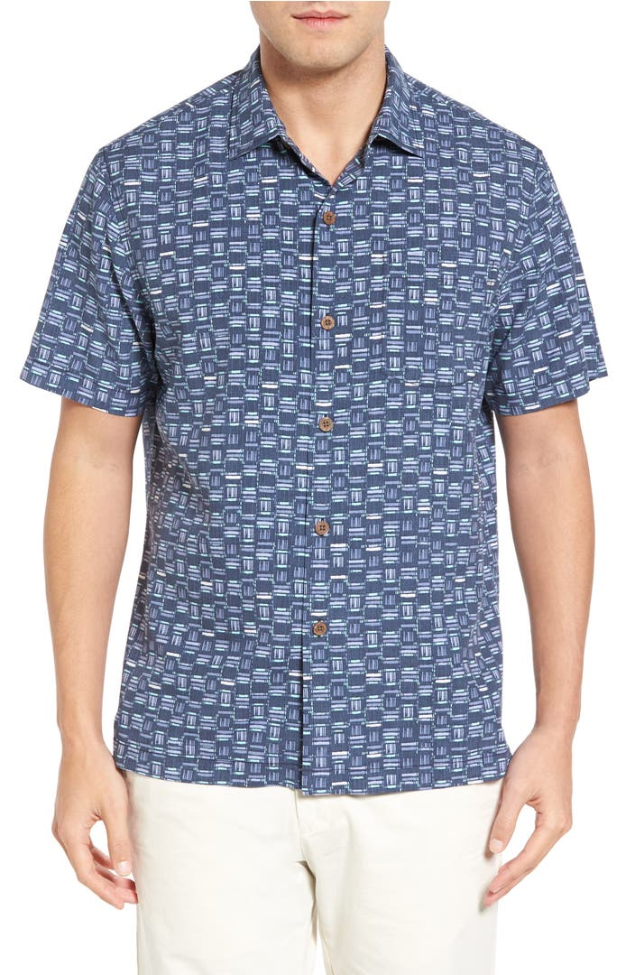 Tommy bahama geo chaser silk blend camp shirt nordstrom for Tommy bahama short sleeve silk camp shirt