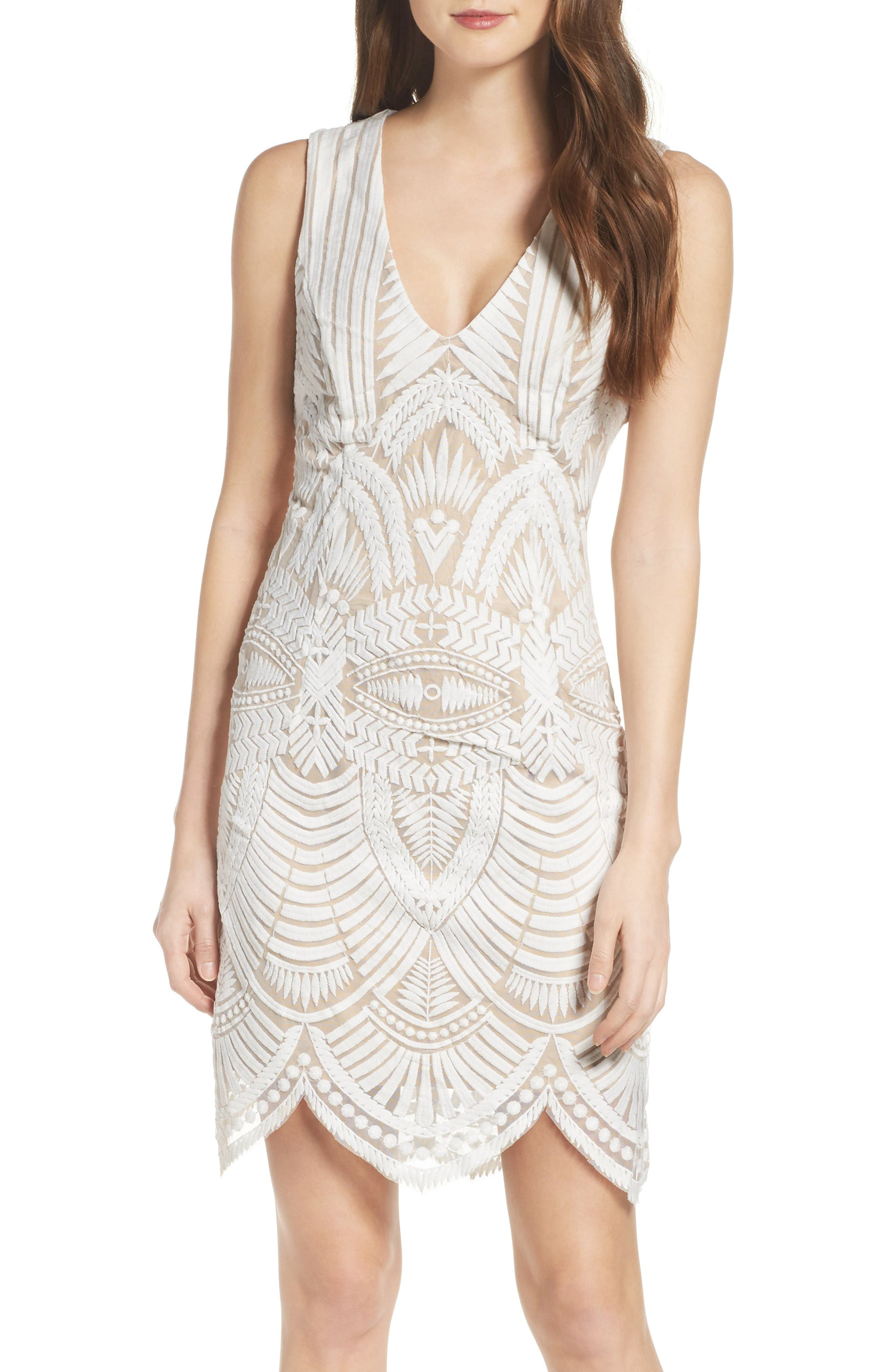 Bardot Embroidered Mesh Dress