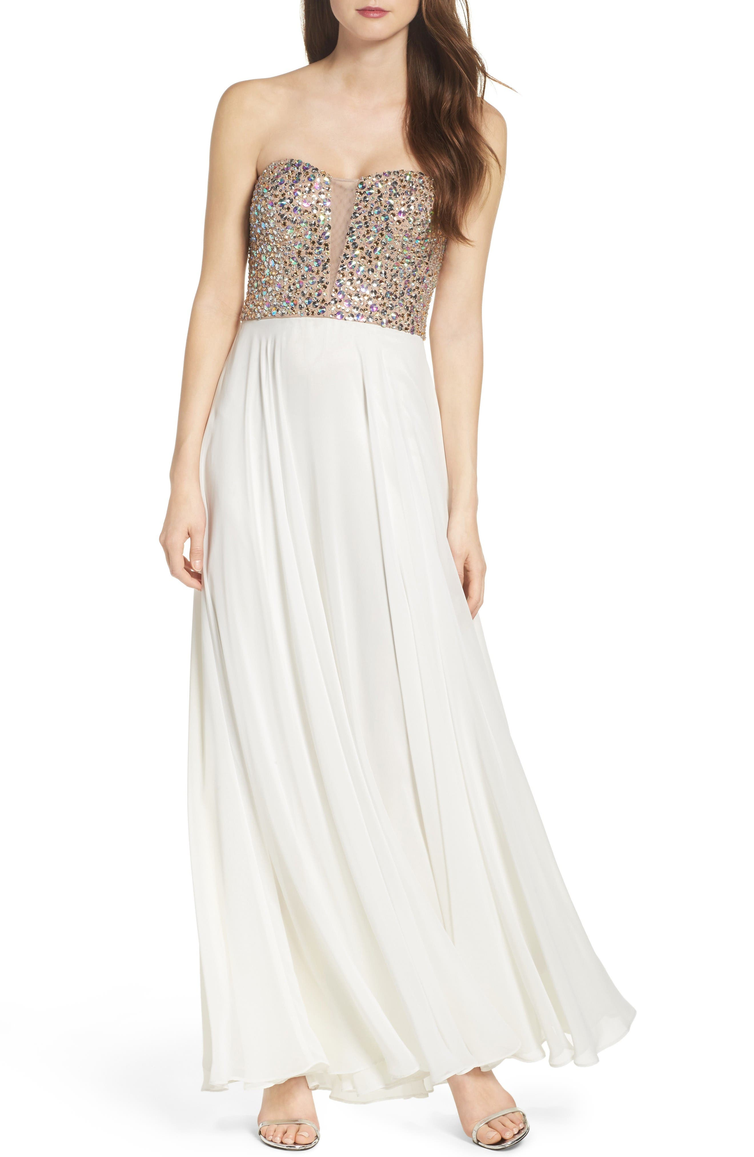 Xscape Embellished Strapless Gown