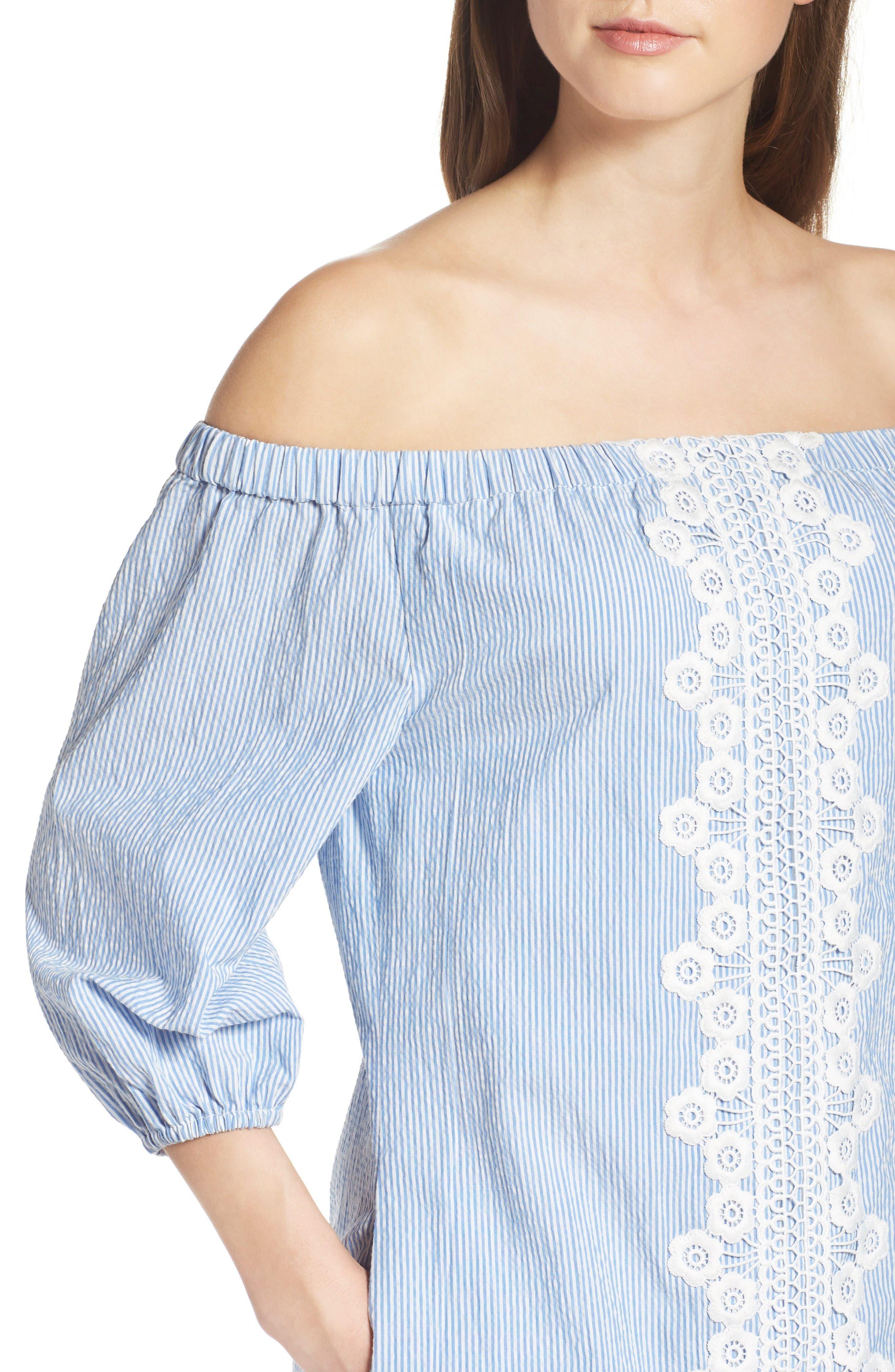 Alternate Image 6  - Eliza J Lace Trim Seersucker Off the Shoulder Dress (Regular & Petite)