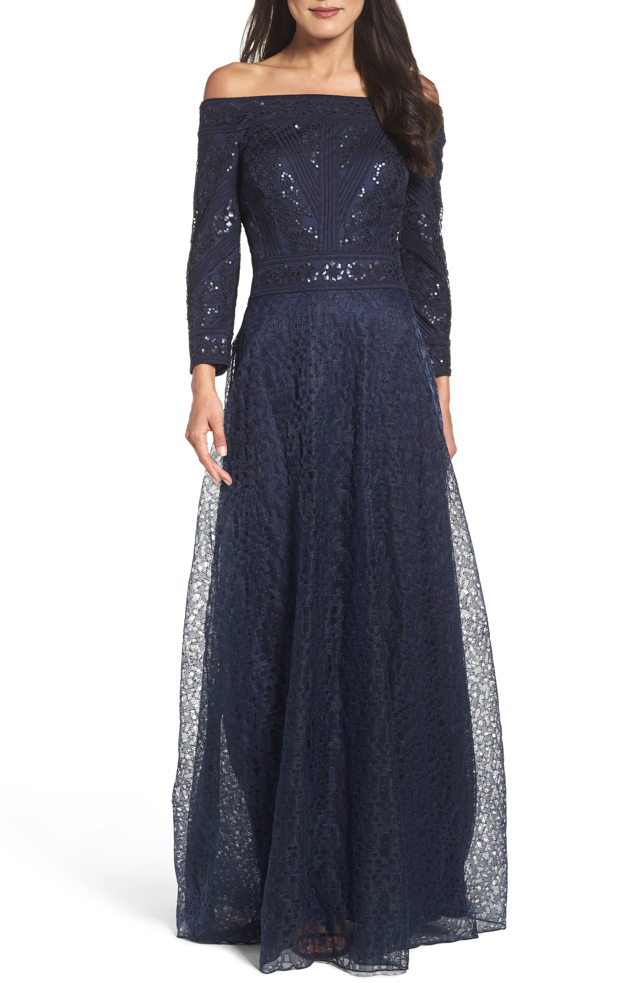 Main Image - Tadashi Shoji Sequin Embroidered Tulle Off the Shoulder Gown