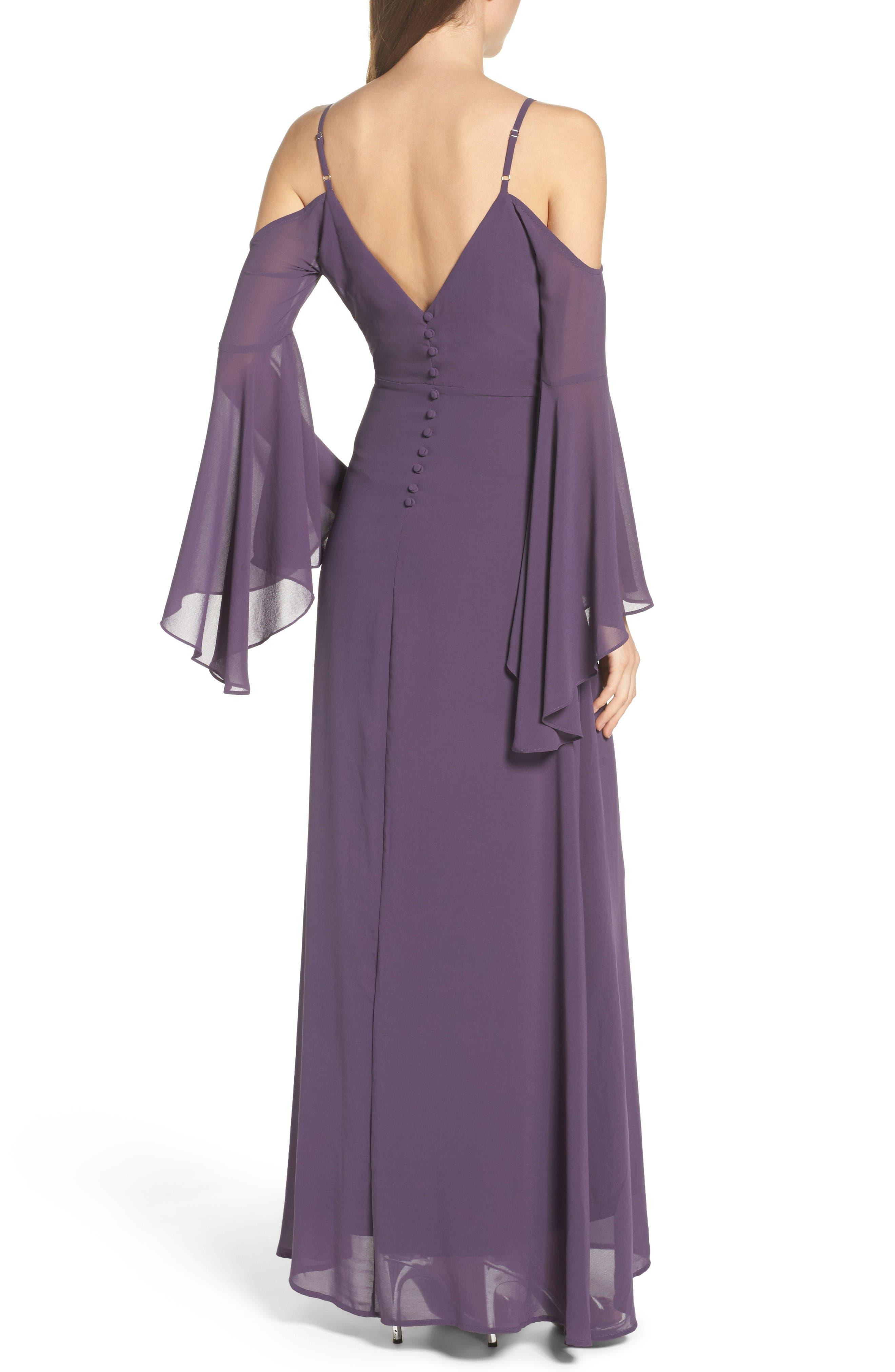 Alternate Image 2  - Lulus Cold Shoulder Chiffon Maxi Dress