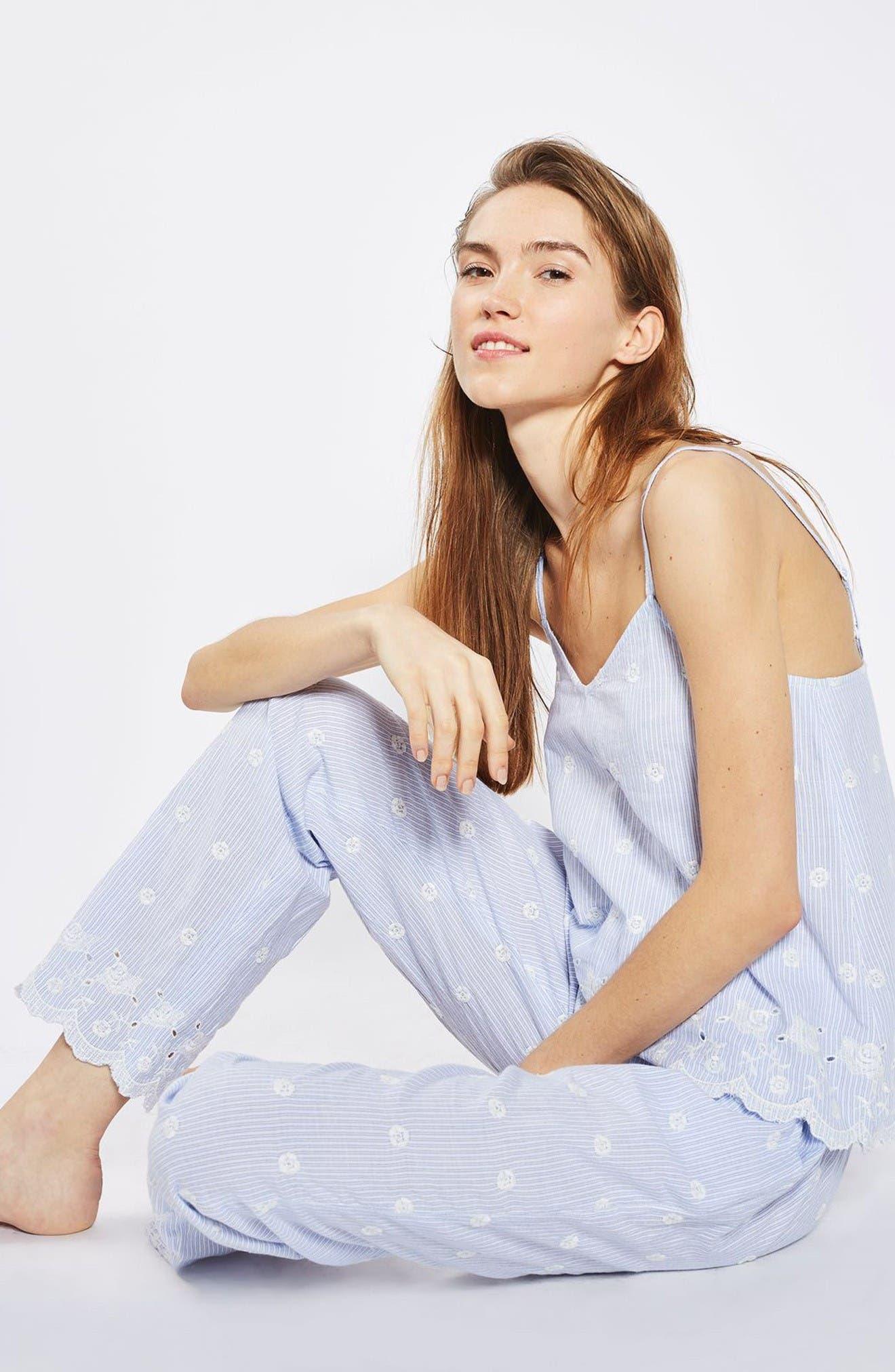 Alternate Image 2  - Topshop Embroidered Stripe Pajama Pants