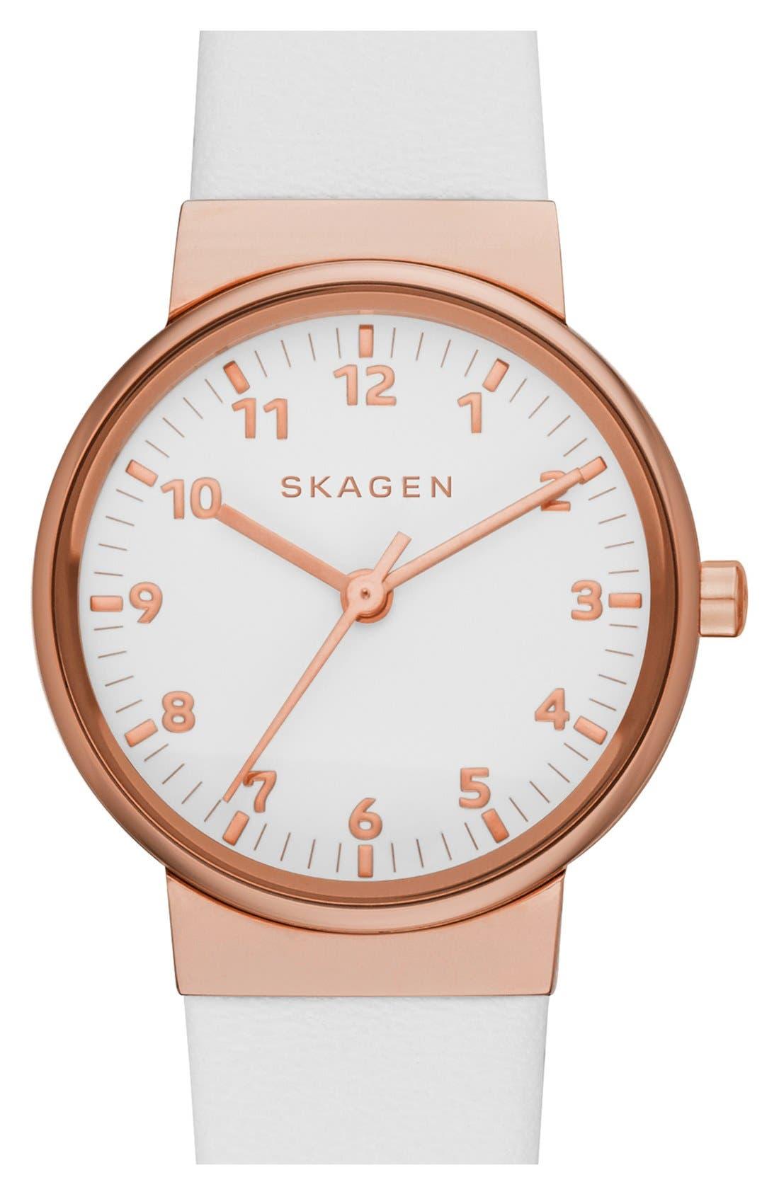 Main Image - Skagen 'Ancher' Leather Strap Watch, 26mm