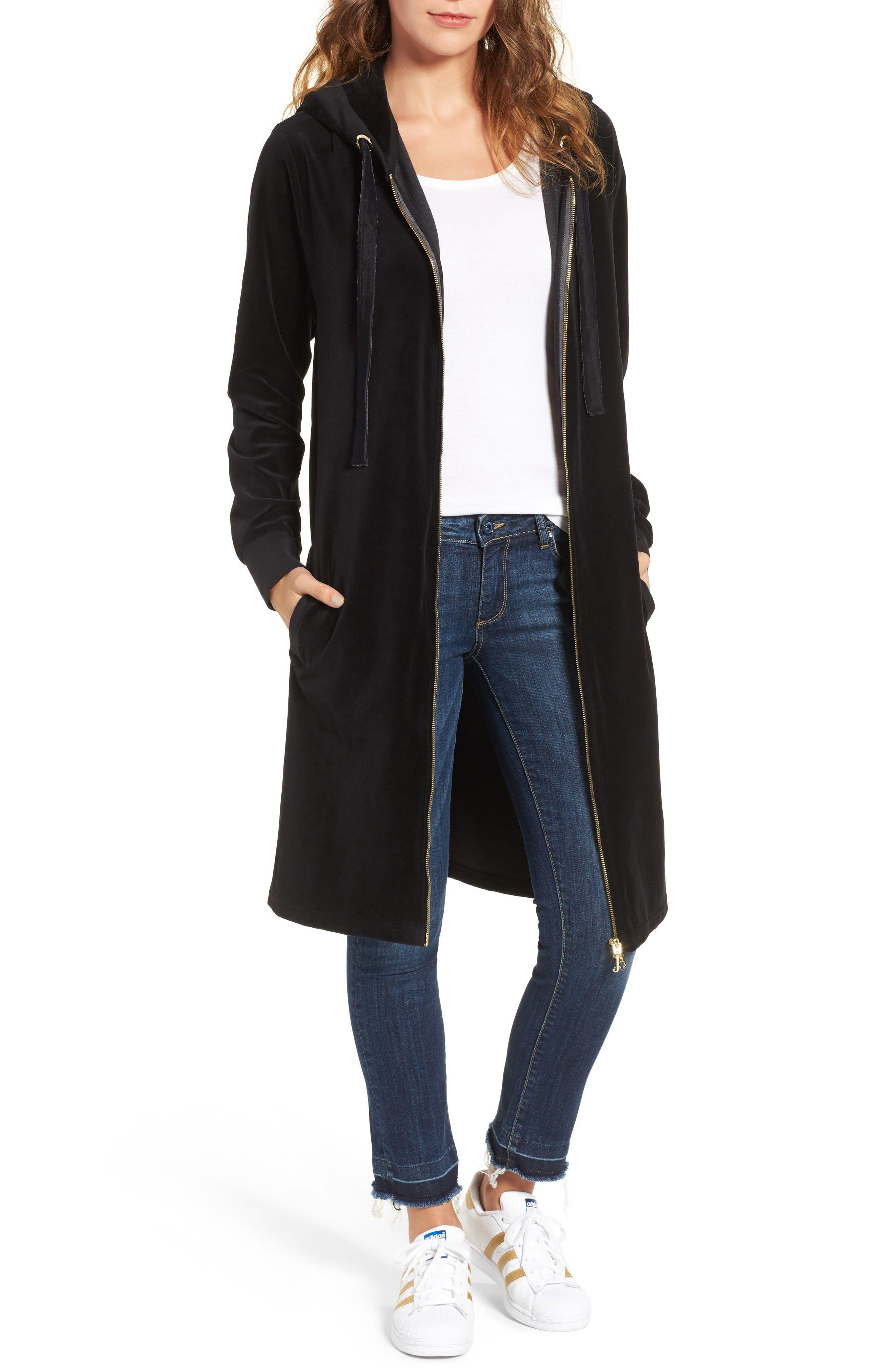 Main Image - Juicy Couture Longline Velour Hoodie