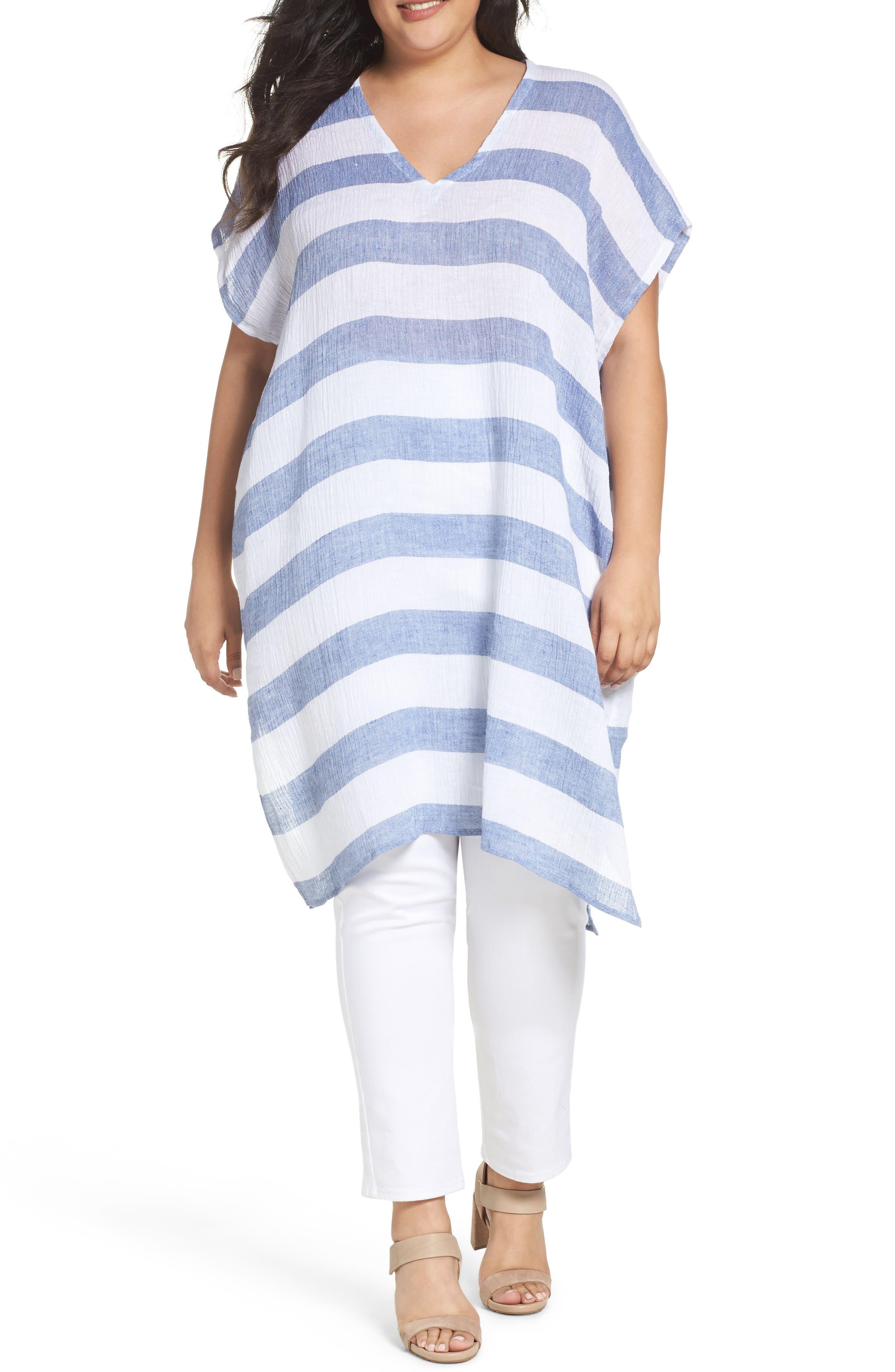 Eileen Fisher Stripe Linen Gauze Tunic (Plus Size)