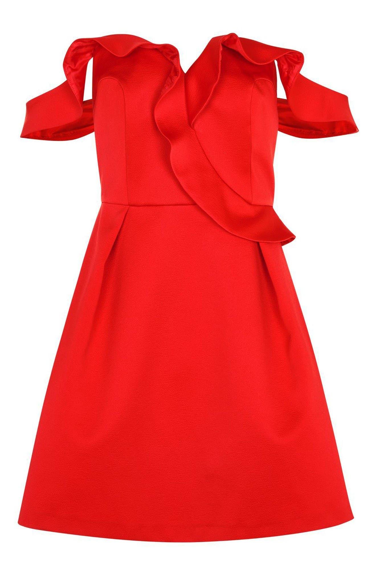 Alternate Image 4  - Topshop Bardot Ruffle Minidress
