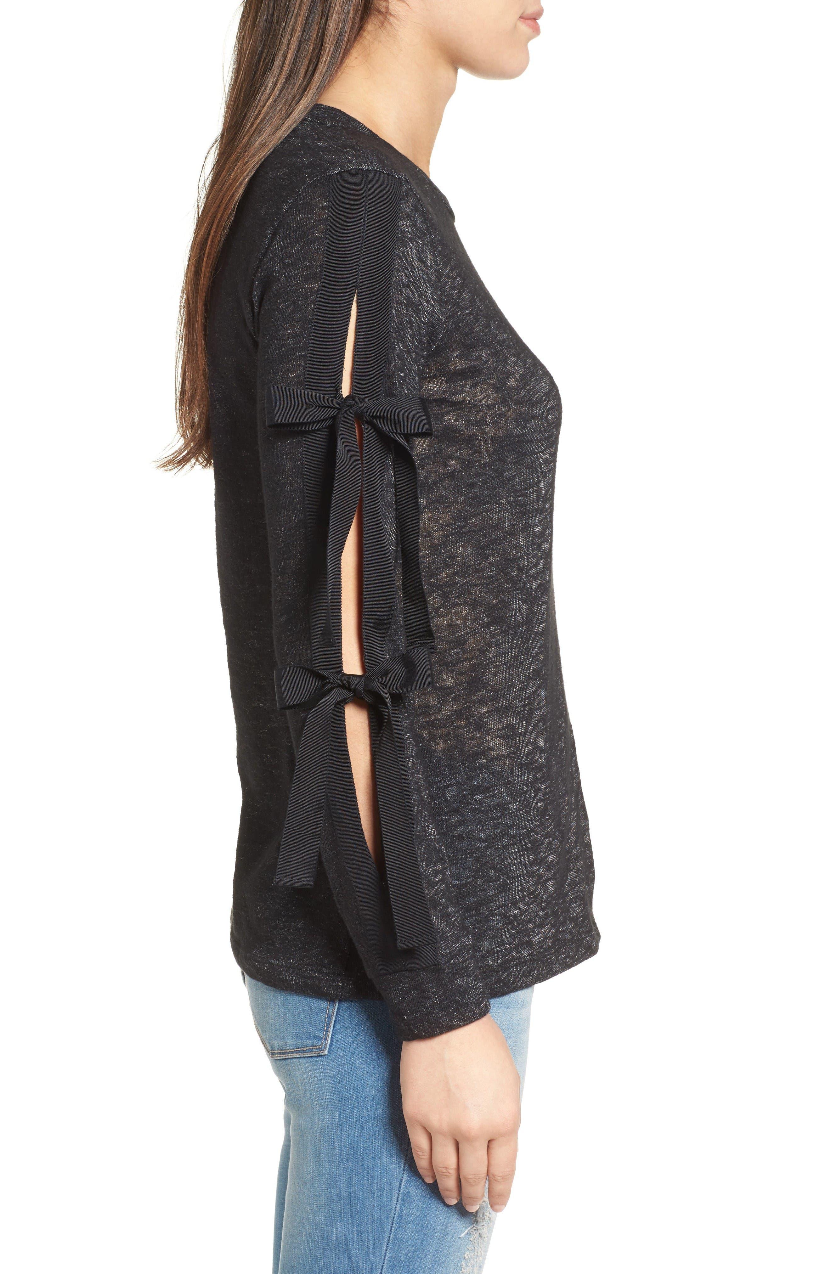 Alternate Image 3  - Pleione Ribbon Tie Sleeve Knit Top (Regular & Petite)