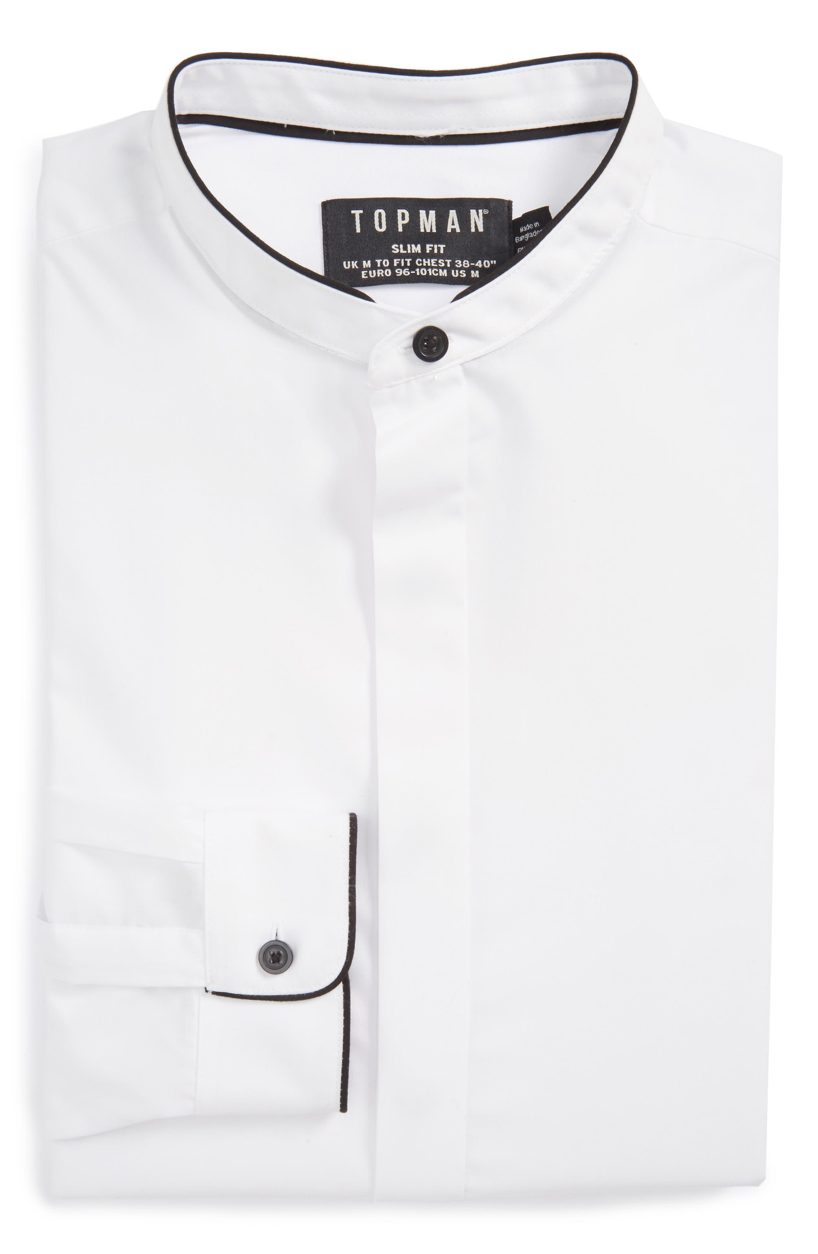 Alternate Image 1 Selected - Topman Slim Fit Band Collar Dress Shirt