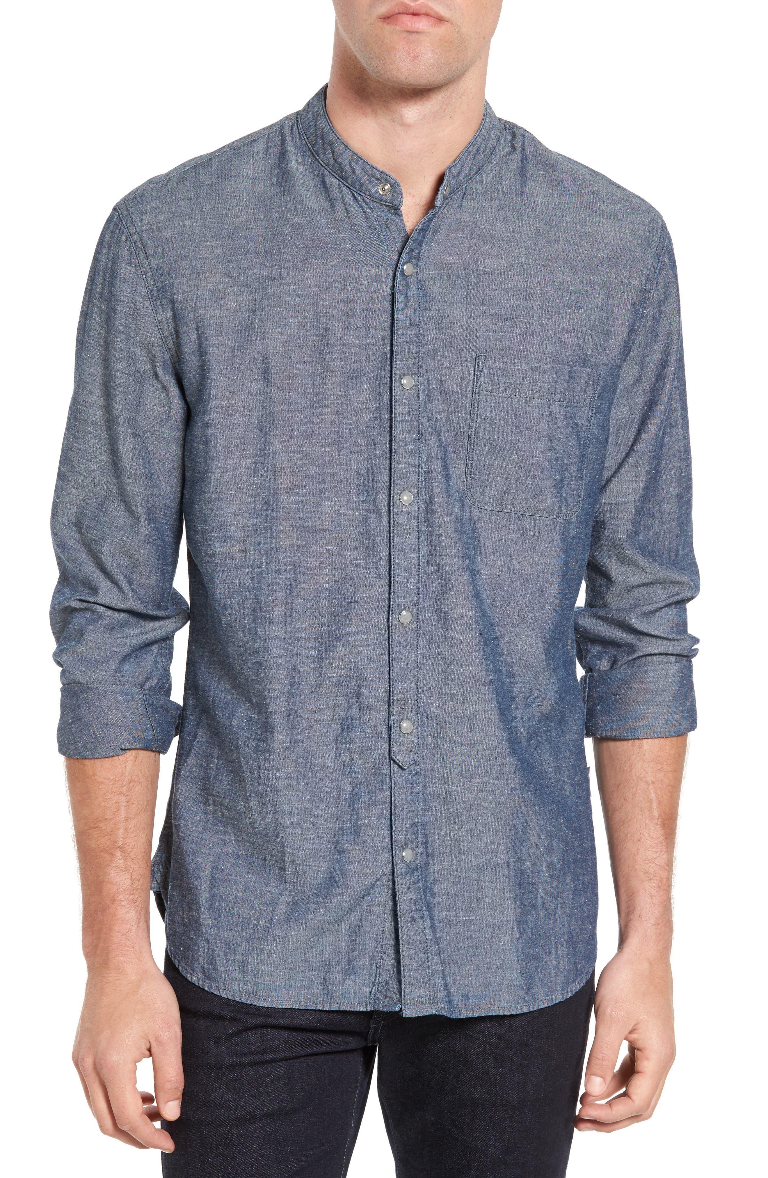 John Varvatos Star USA Trim Fit Chambray Band Collar Sport Shirt