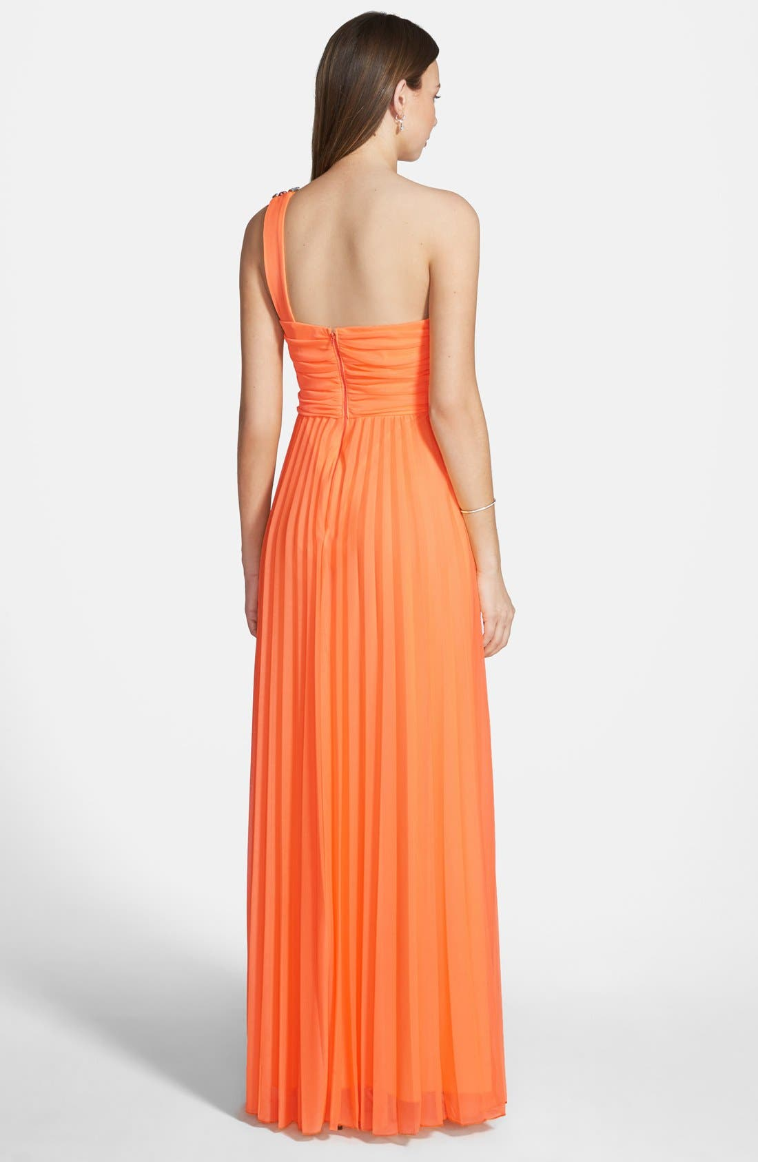 Alternate Image 2  - Way-In One Shoulder Pleated Neon Gown (Juniors)
