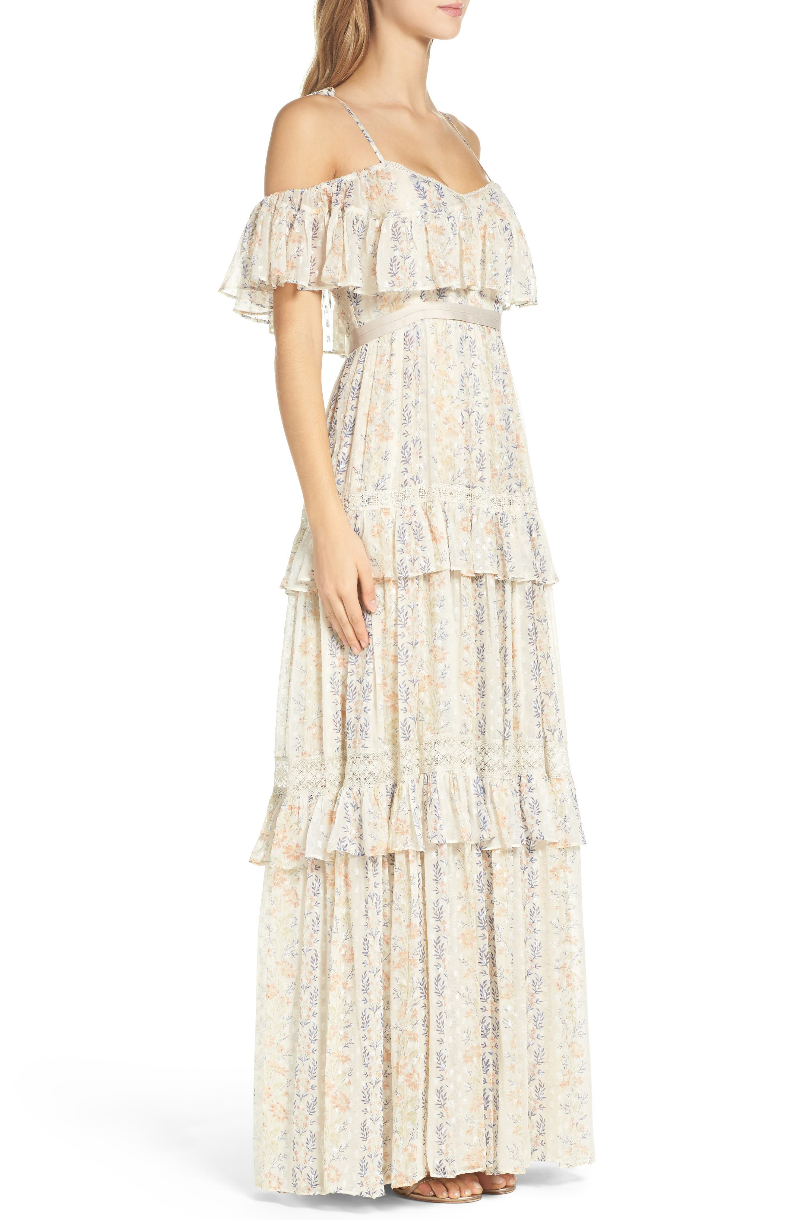 Alternate Image 3  - Needle & Thread Cold Shoulder Tiered Gown