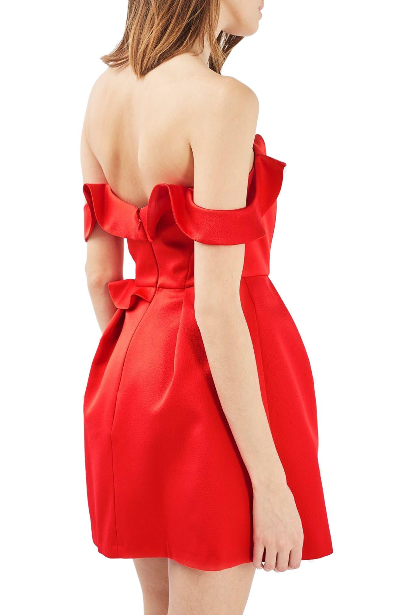 Alternate Image 3  - Topshop Bardot Ruffle Minidress