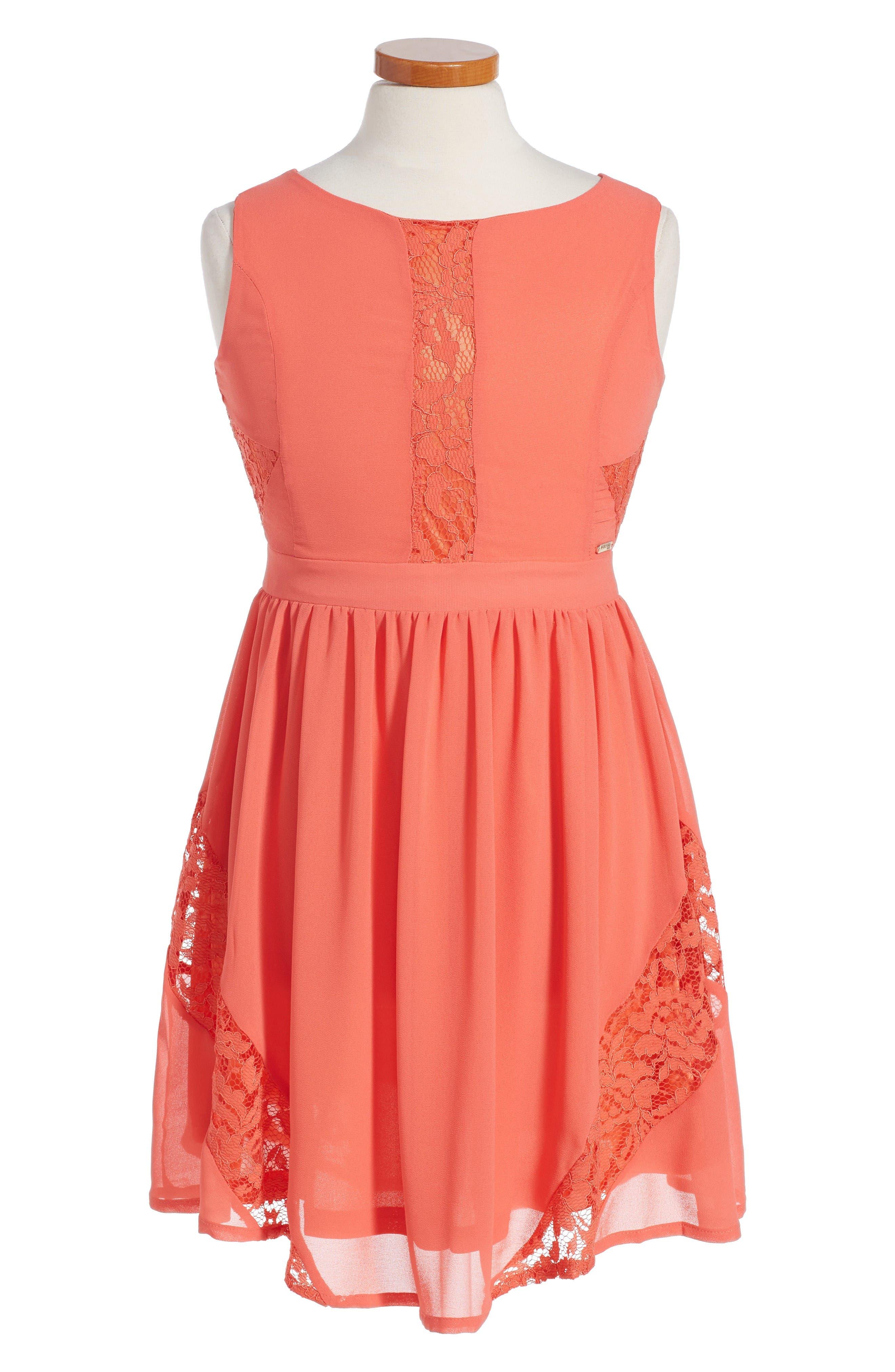 MARCIANO Lace Inset Fit & Flare Chiffon Dress