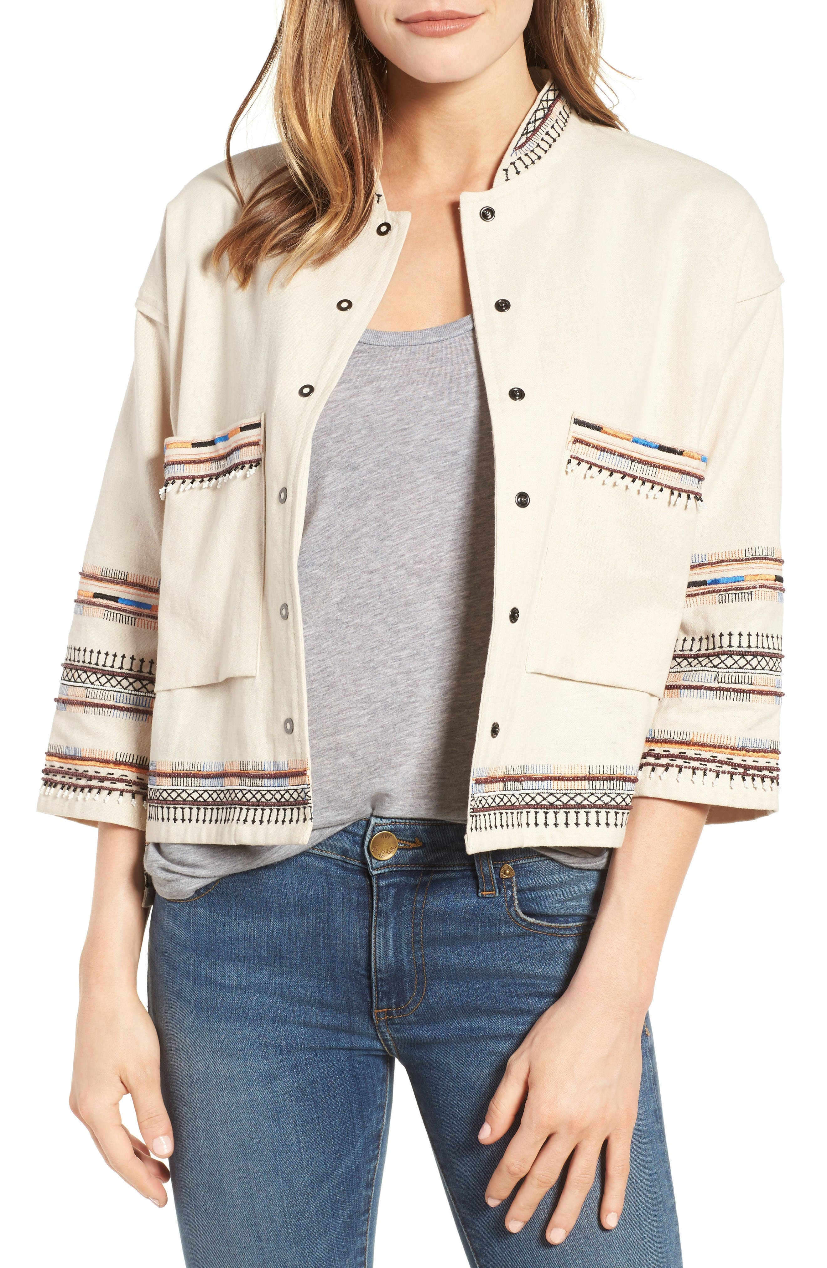 Velvet by Graham & Spencer Embroidered Cotton Jacket