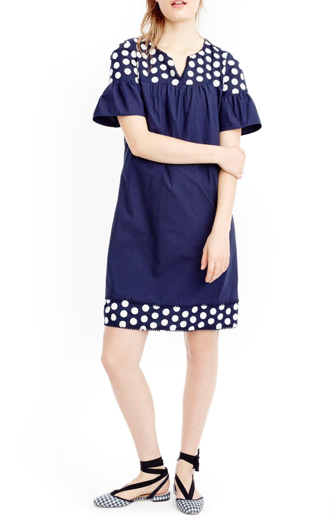 Main Image - J.Crew Bell Sleeve Fringe Dot Dress (Regular & Petite)