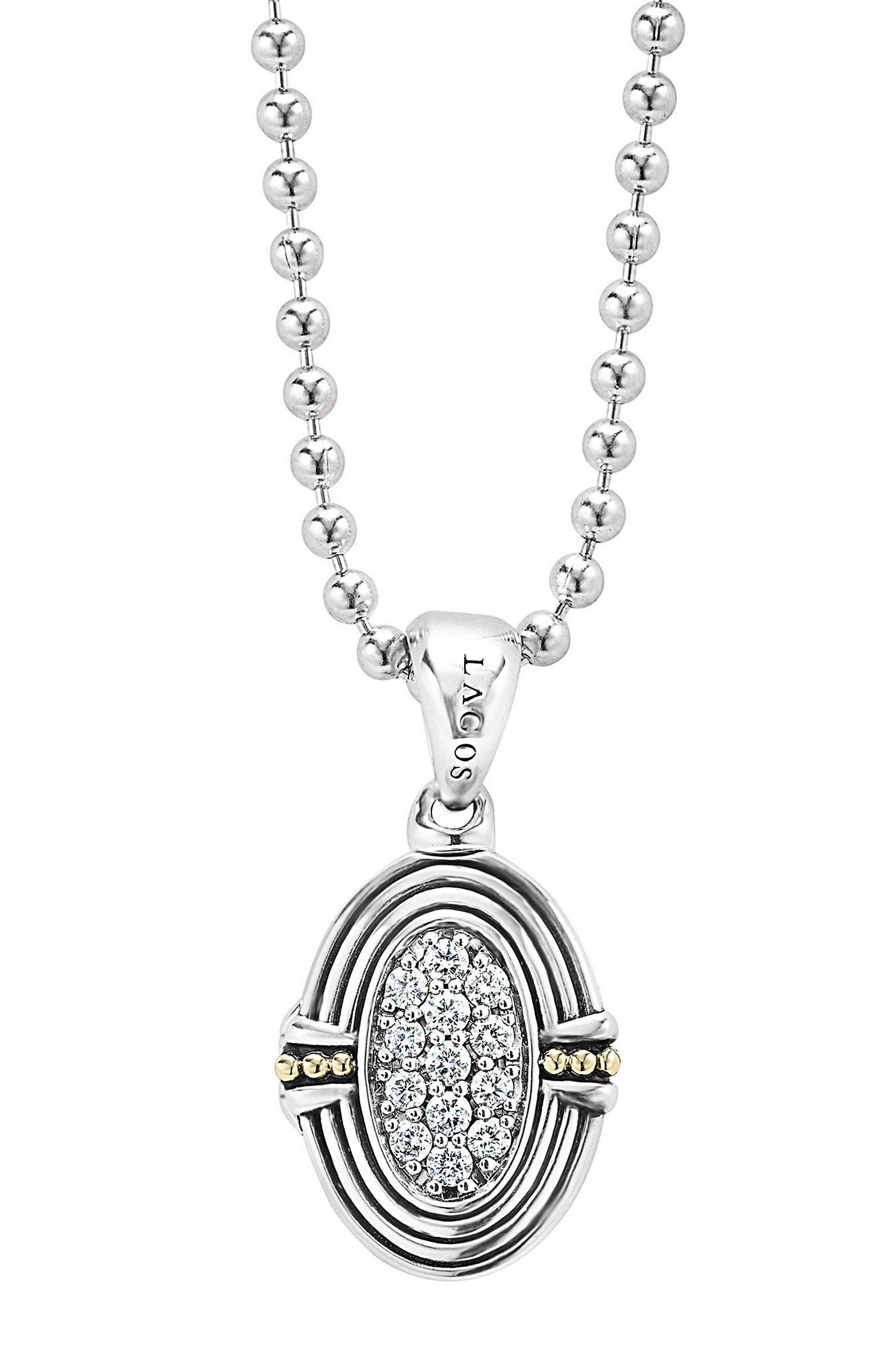 LAGOS Beloved Diamond Oval Locket Necklace