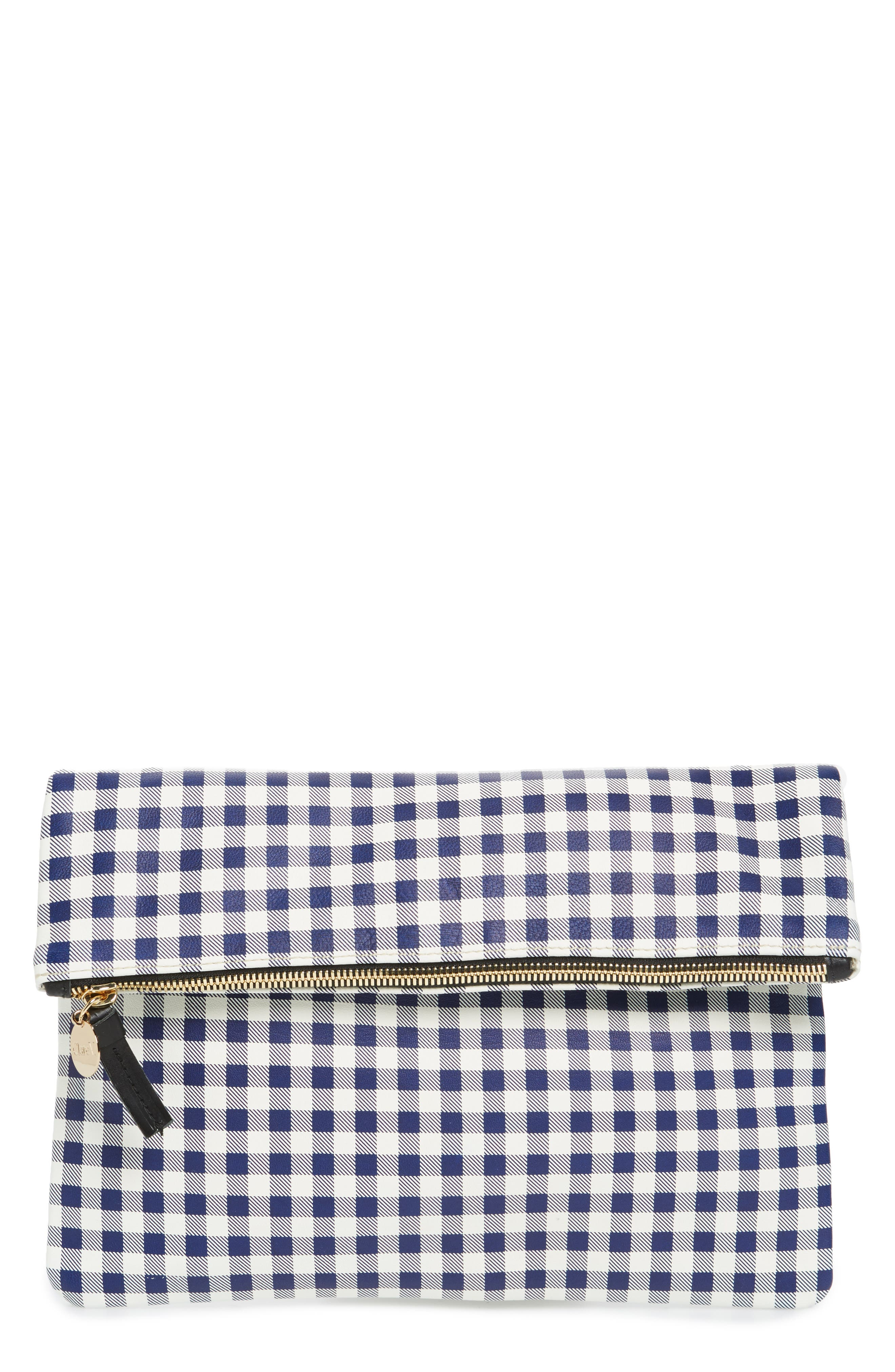 Clare V. Gingham Leather Foldover Clutch