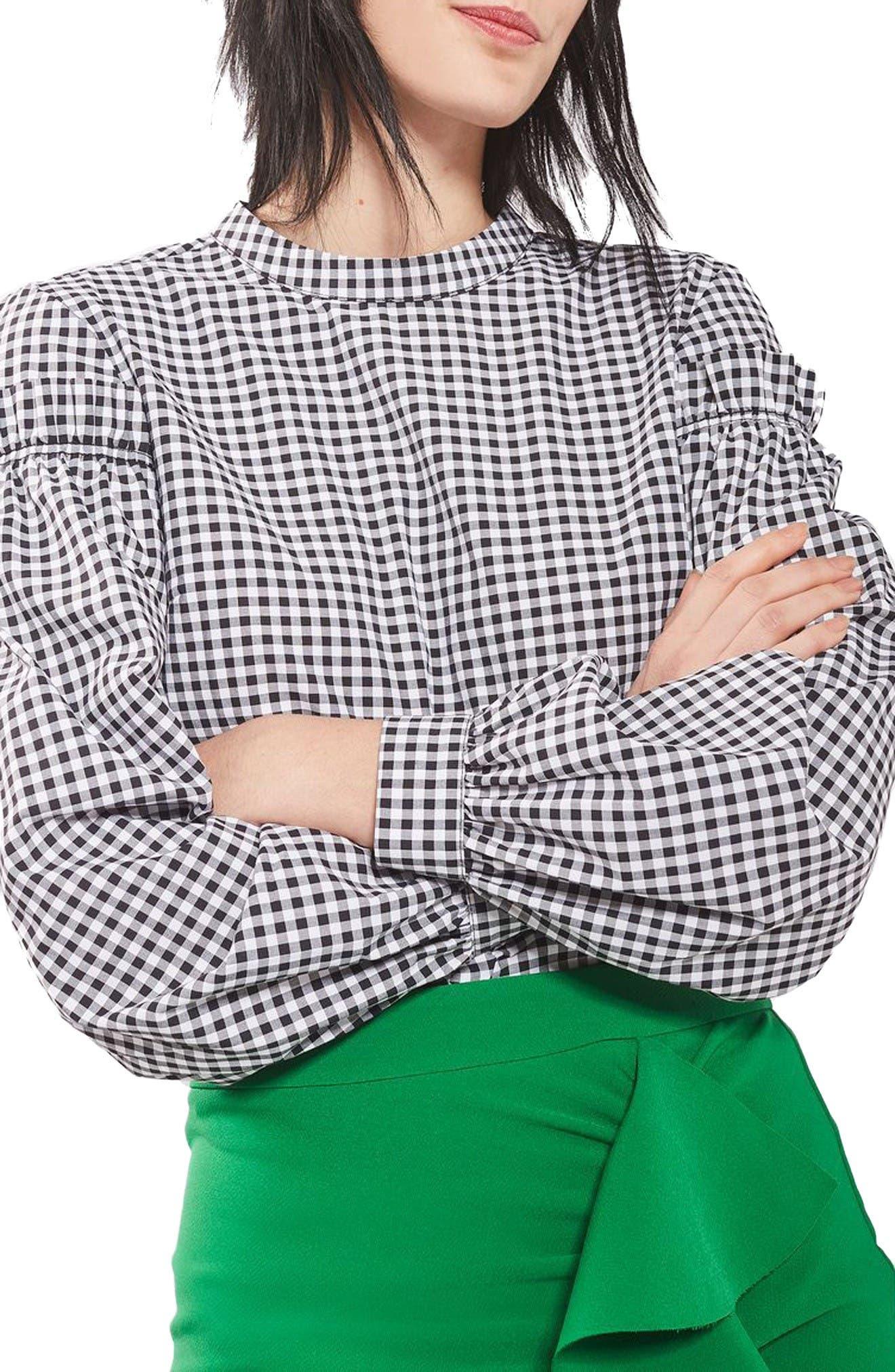 Alternate Image 5  - Topshop Gingham Mutton Sleeve Top (Regular & Petite)