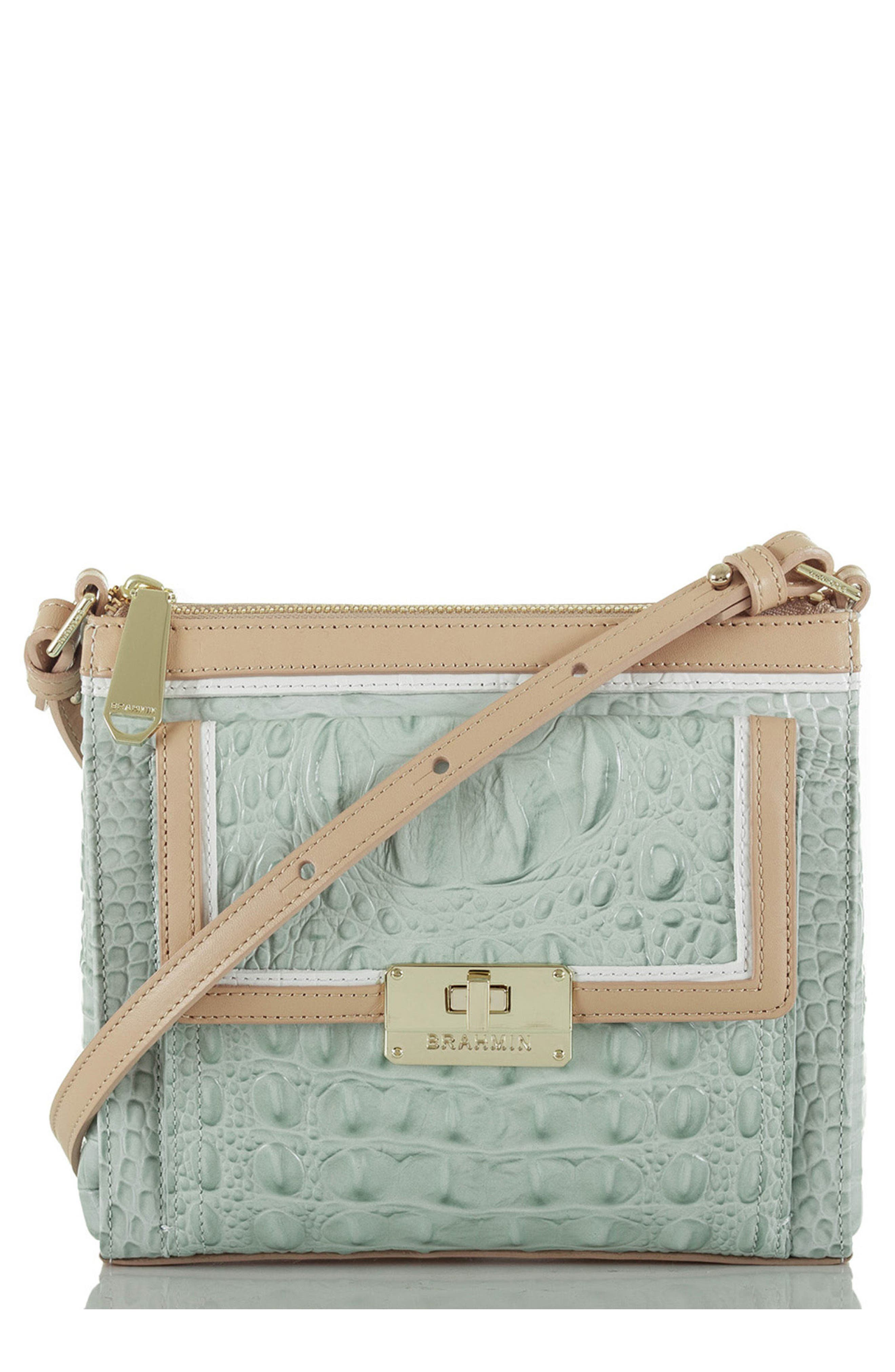 BRAHMIN 'Mimosa' Croc Embossed Leather Crossbody Bag