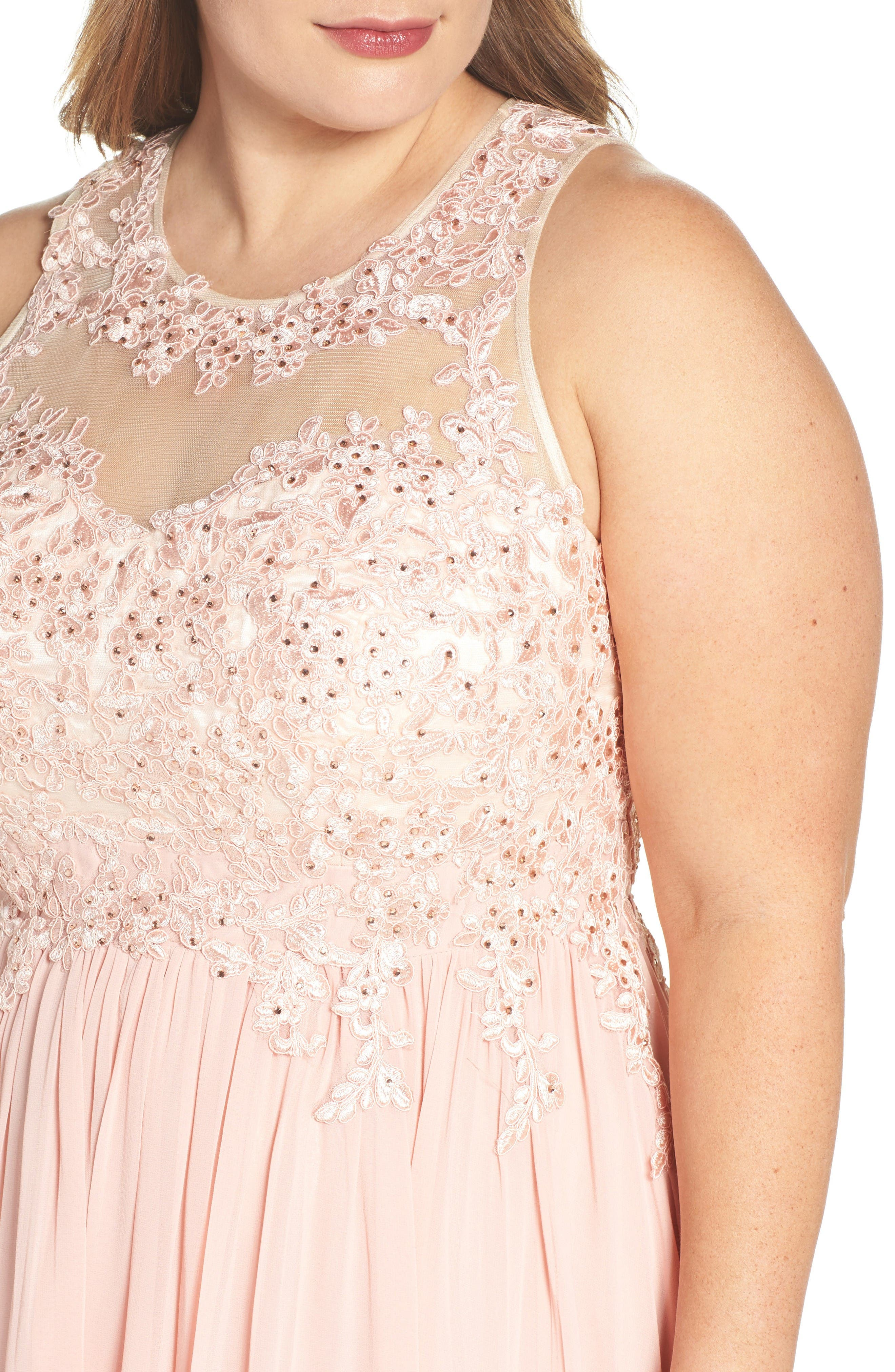 Alternate Image 4  - DECODE 1.8 Embellished A-Line Chiffon Gown (Plus Size)