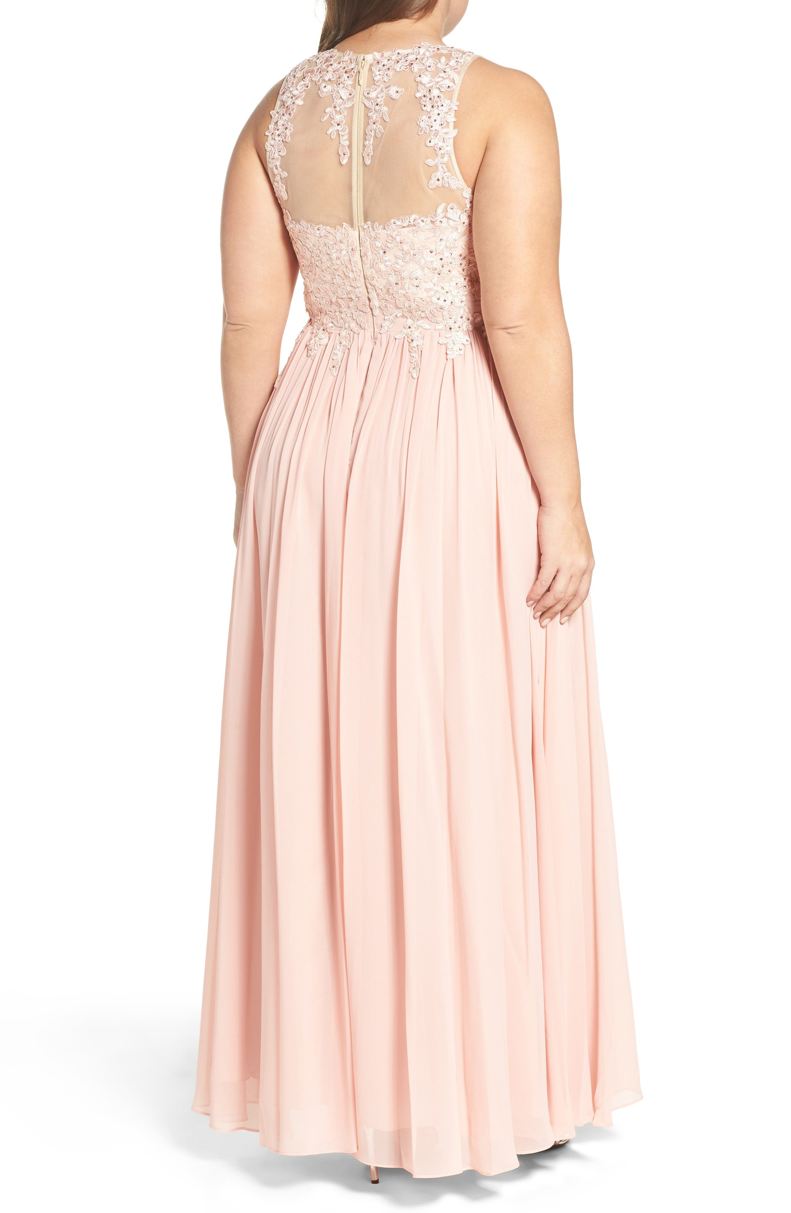 Alternate Image 2  - DECODE 1.8 Embellished A-Line Chiffon Gown (Plus Size)