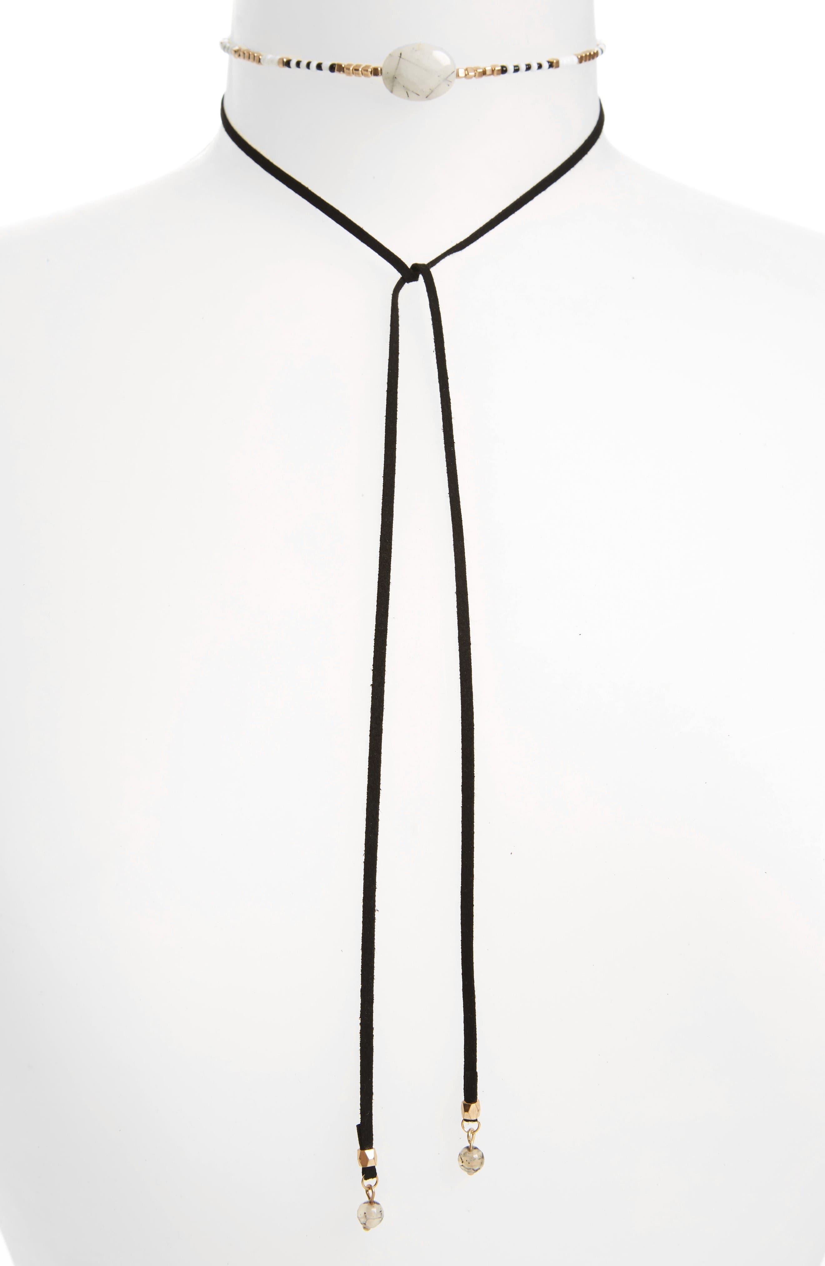Treasure & Bond Leather Tie Choker Necklace