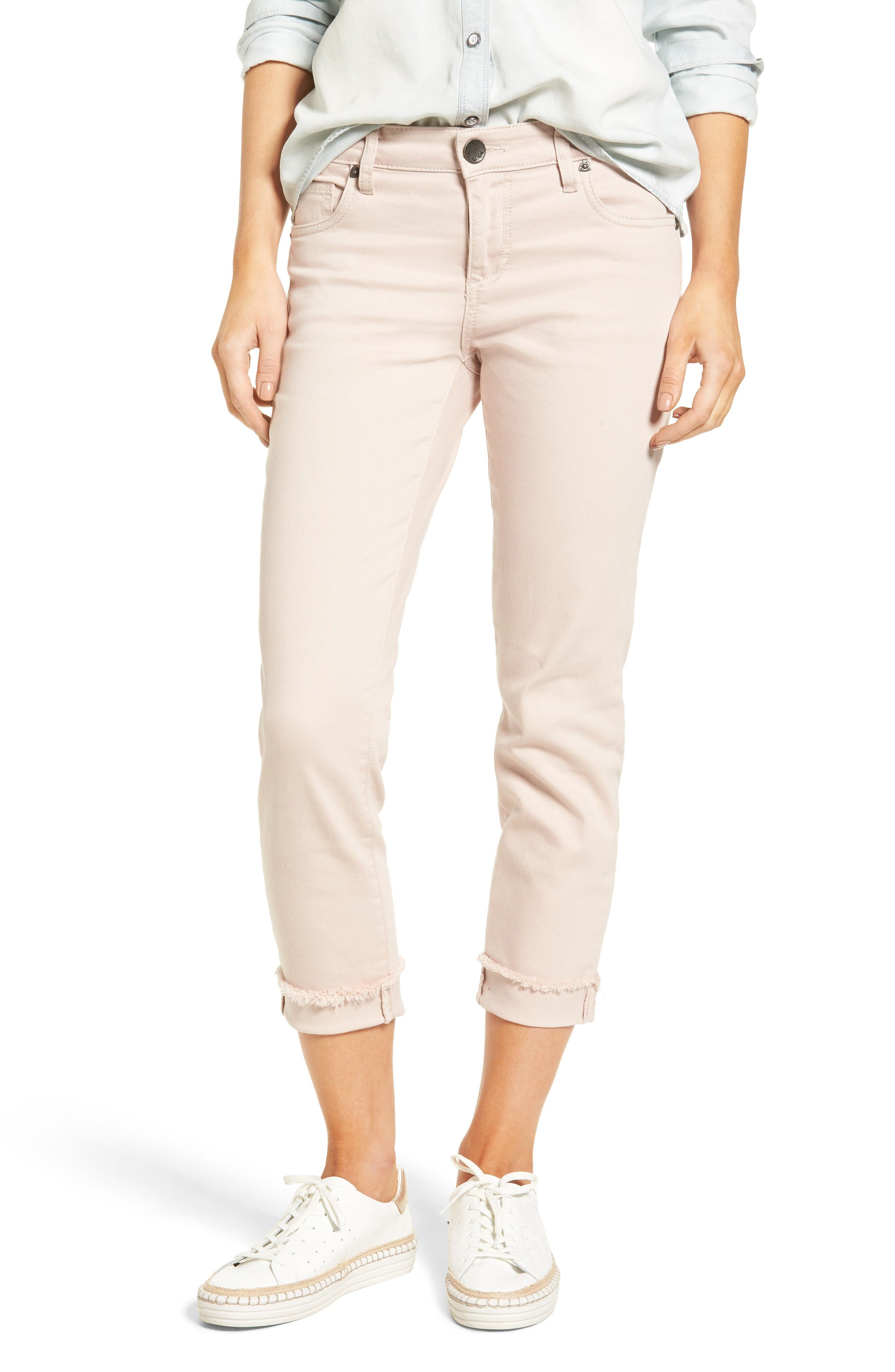 KUT from the Kloth Amy Stretch Slim Crop Jeans (Blush Rose)