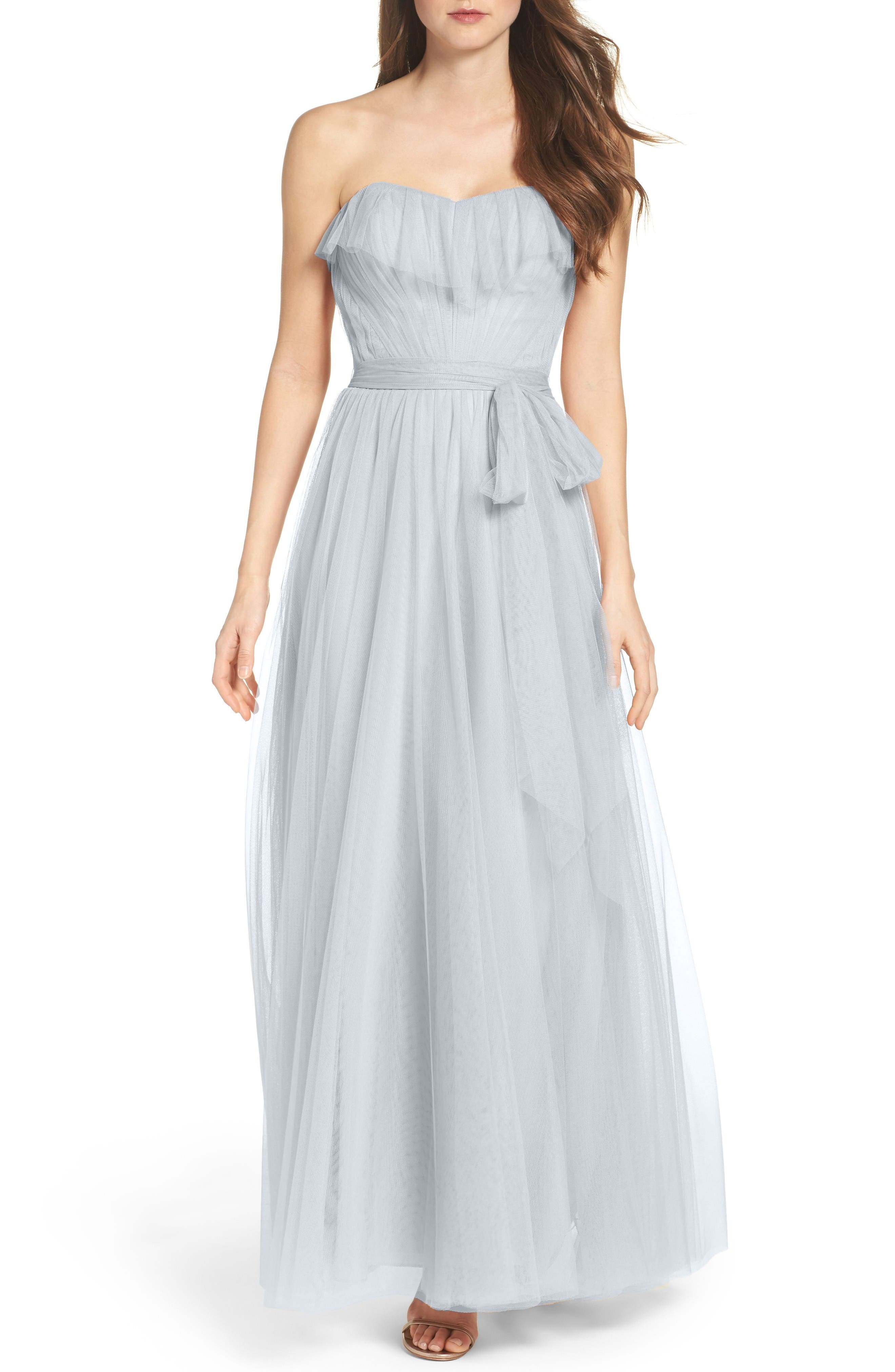 Watters Angelie Strapless Tulle Gown