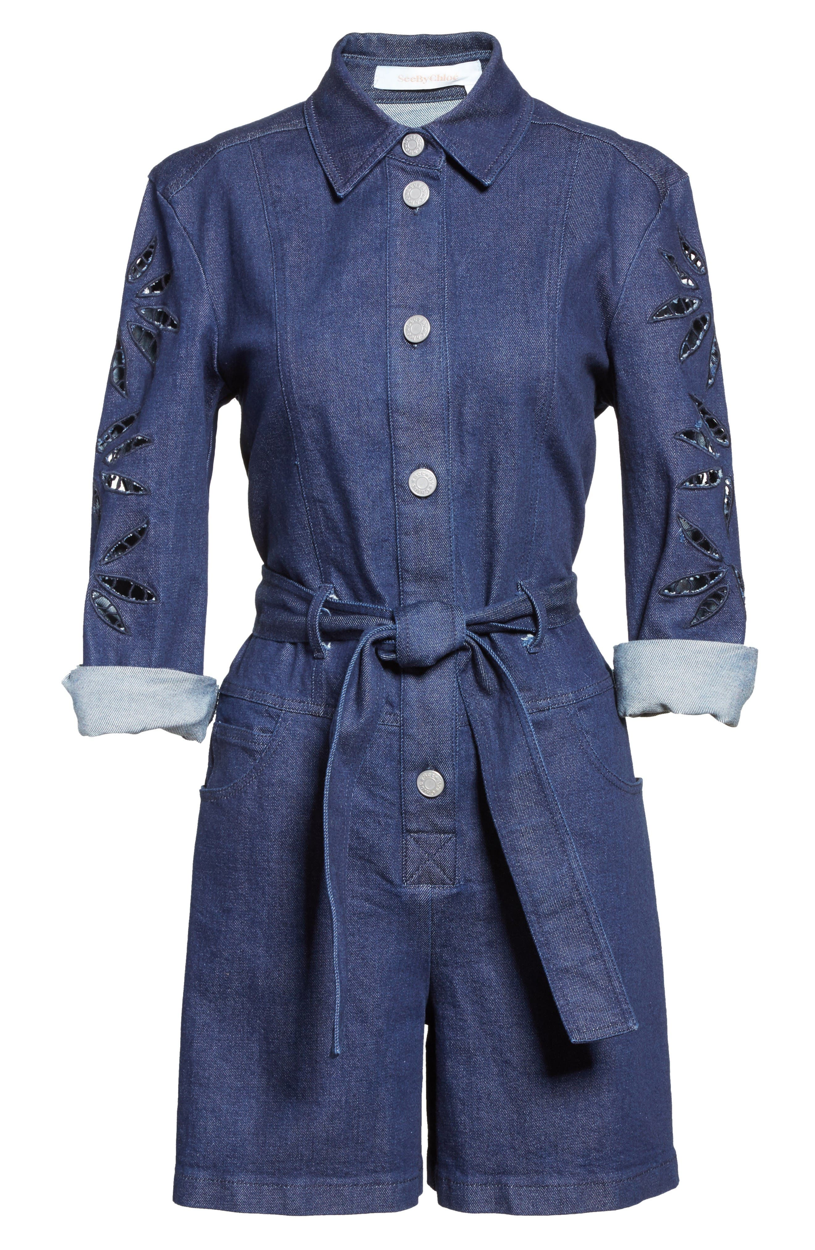Alternate Image 7  - See by Chloé Embroidered Denim Romper (Nordstrom Exclusive)