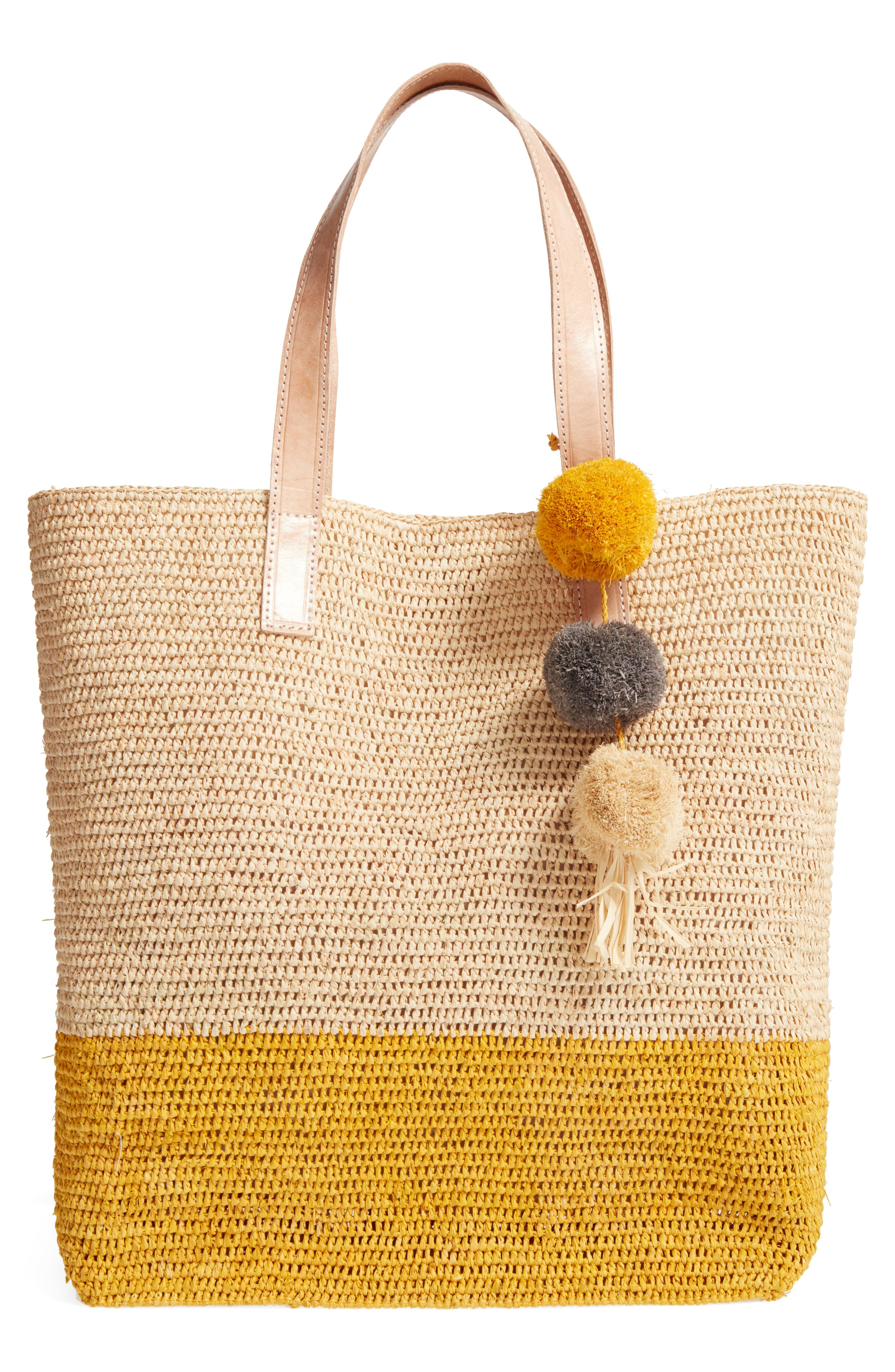 Main Image - Mar y Sol Montauk Woven Tote with Pom Charms