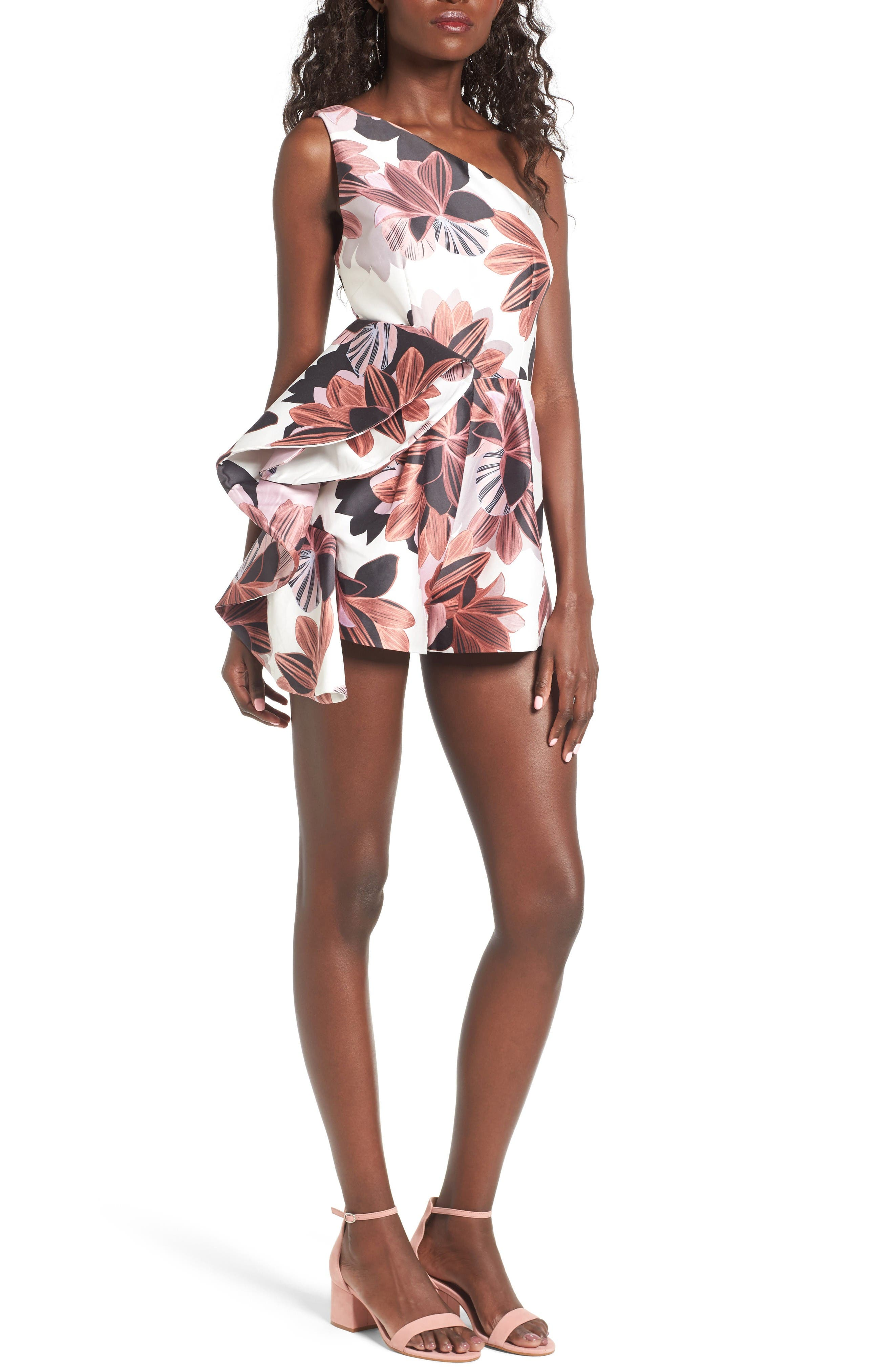 Keepsake the Label Awake One-Shoulder Romper